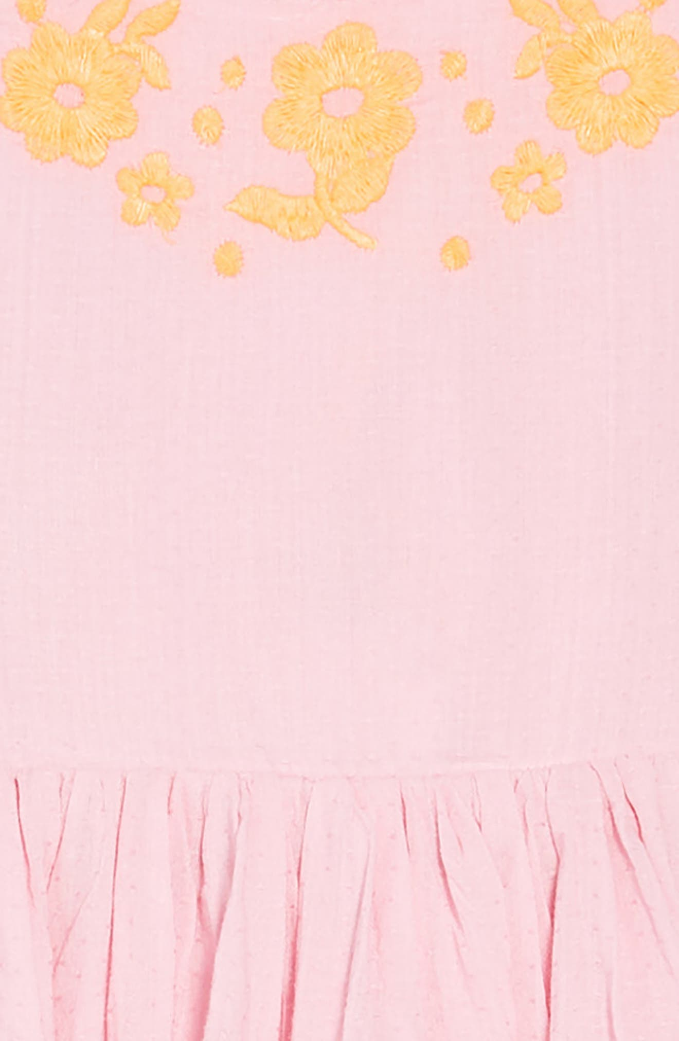 Woven Embroidered Dress,                             Alternate thumbnail 3, color,                             Rosebud Pink