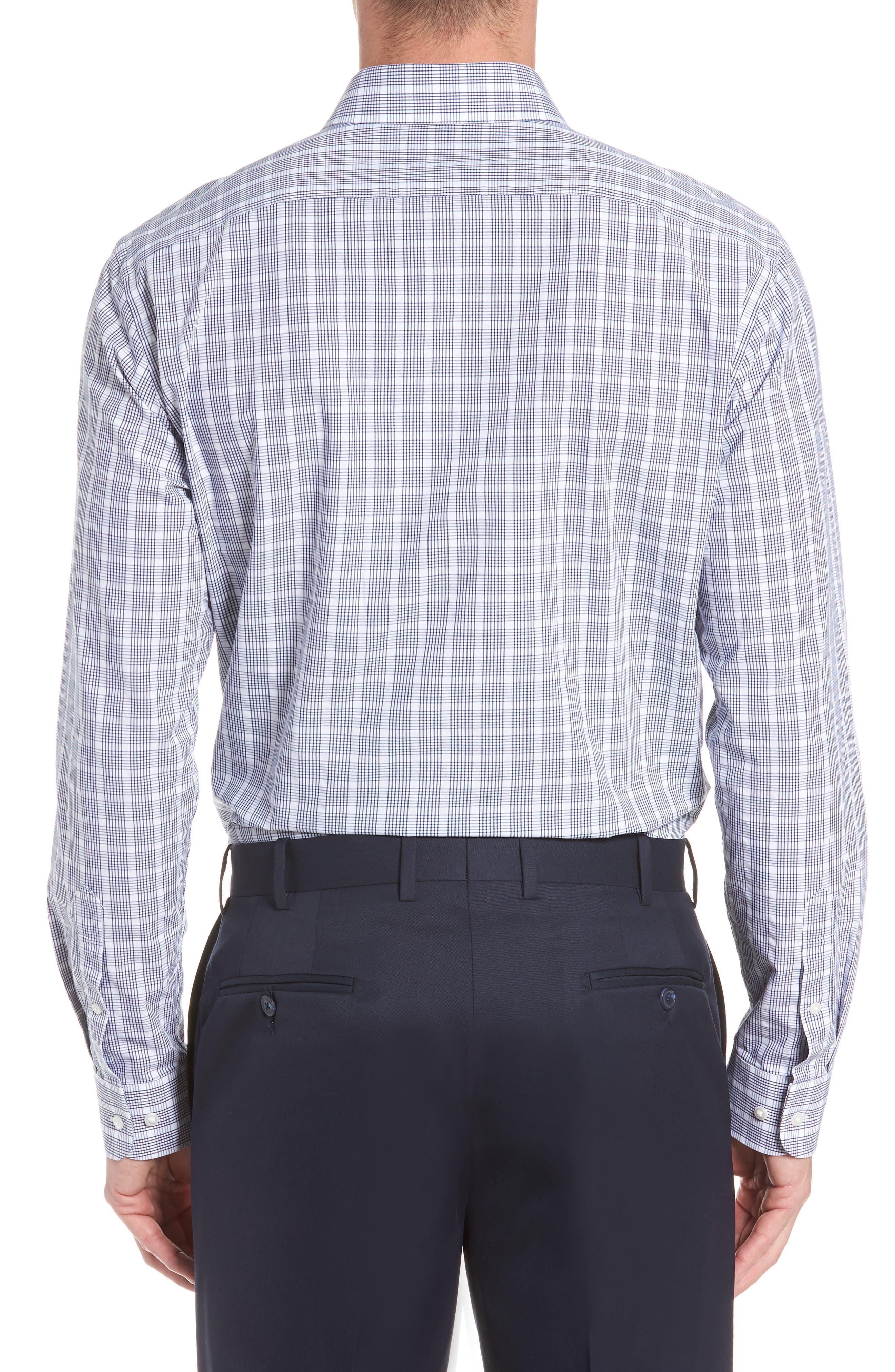 Tech-Smart Trim Fit Plaid Dress Shirt,                             Alternate thumbnail 3, color,                             Navy Dusk