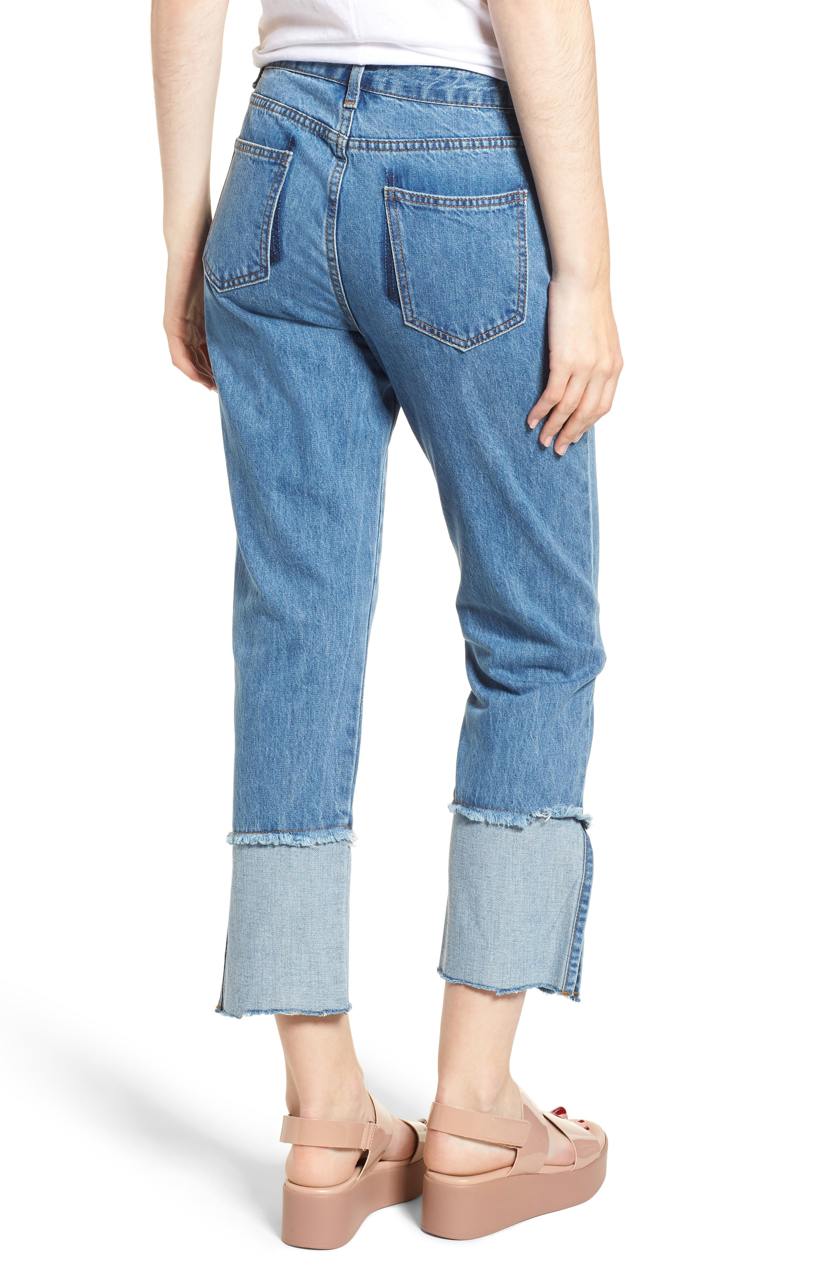 Cuffed Raw Hem Crop Jeans,                             Alternate thumbnail 2, color,                             Fairfax