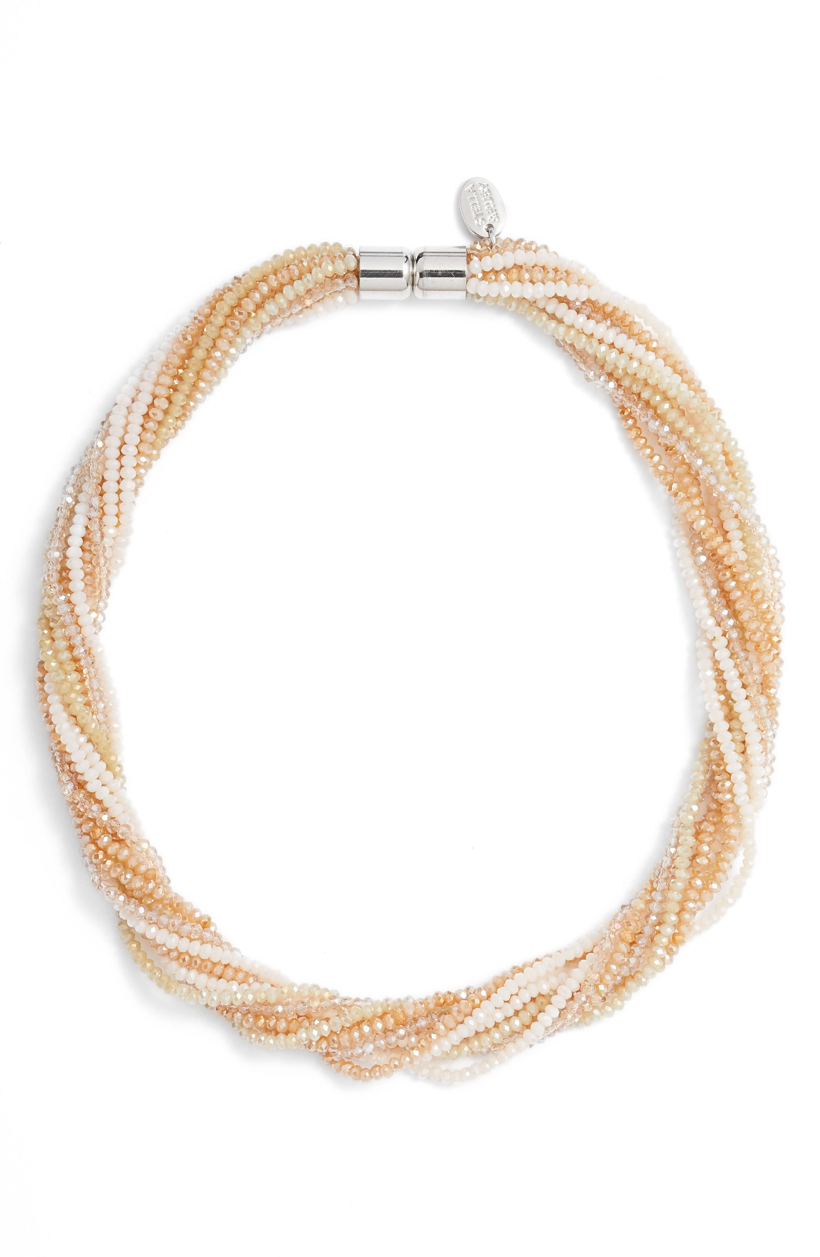 Multi Strand Beaded Necklace,                         Main,                         color, Silver/ Neutral