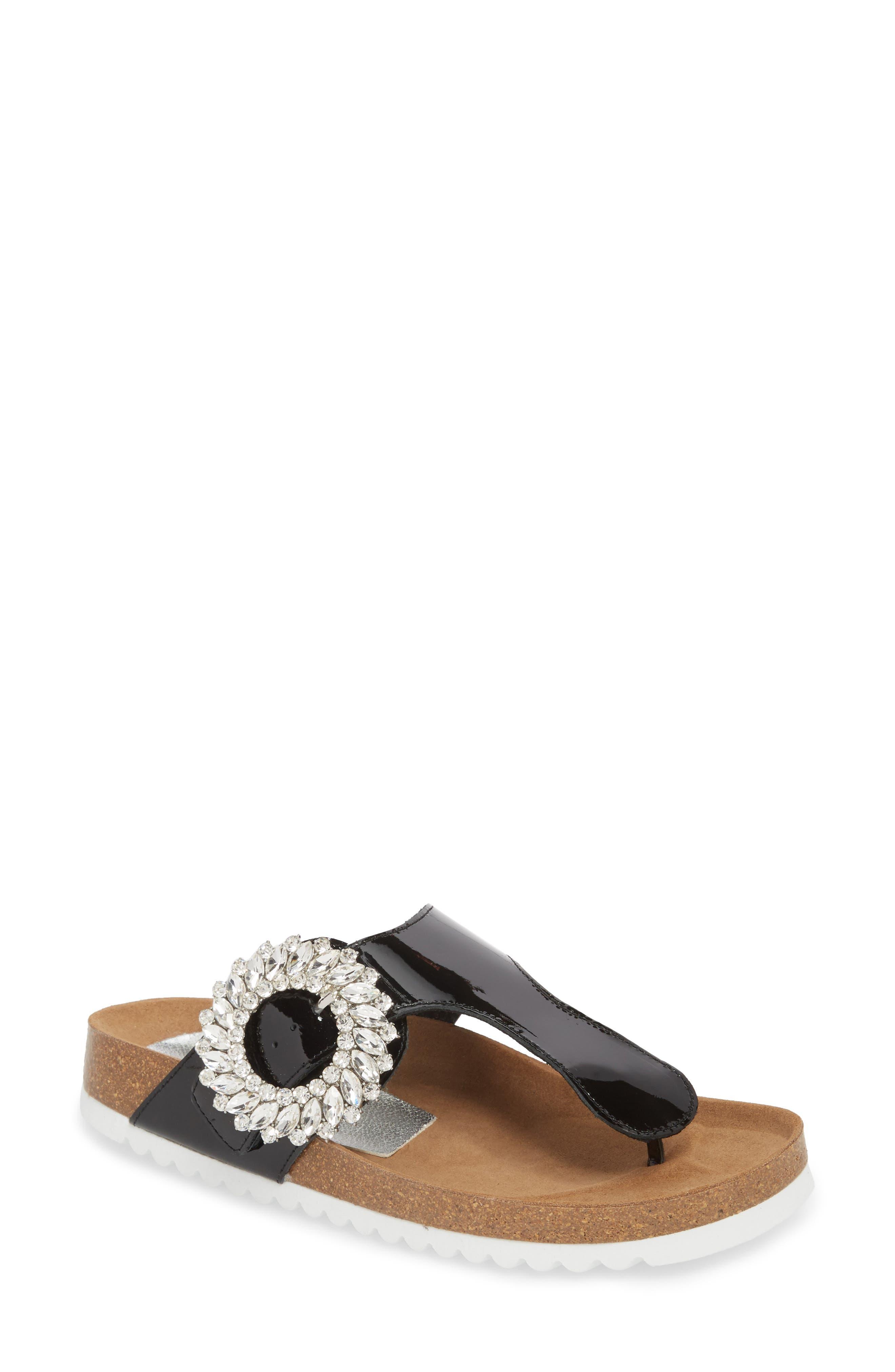 Madeira Embellished T-Strap Sandal,                         Main,                         color, Black Patent/ Black Silver