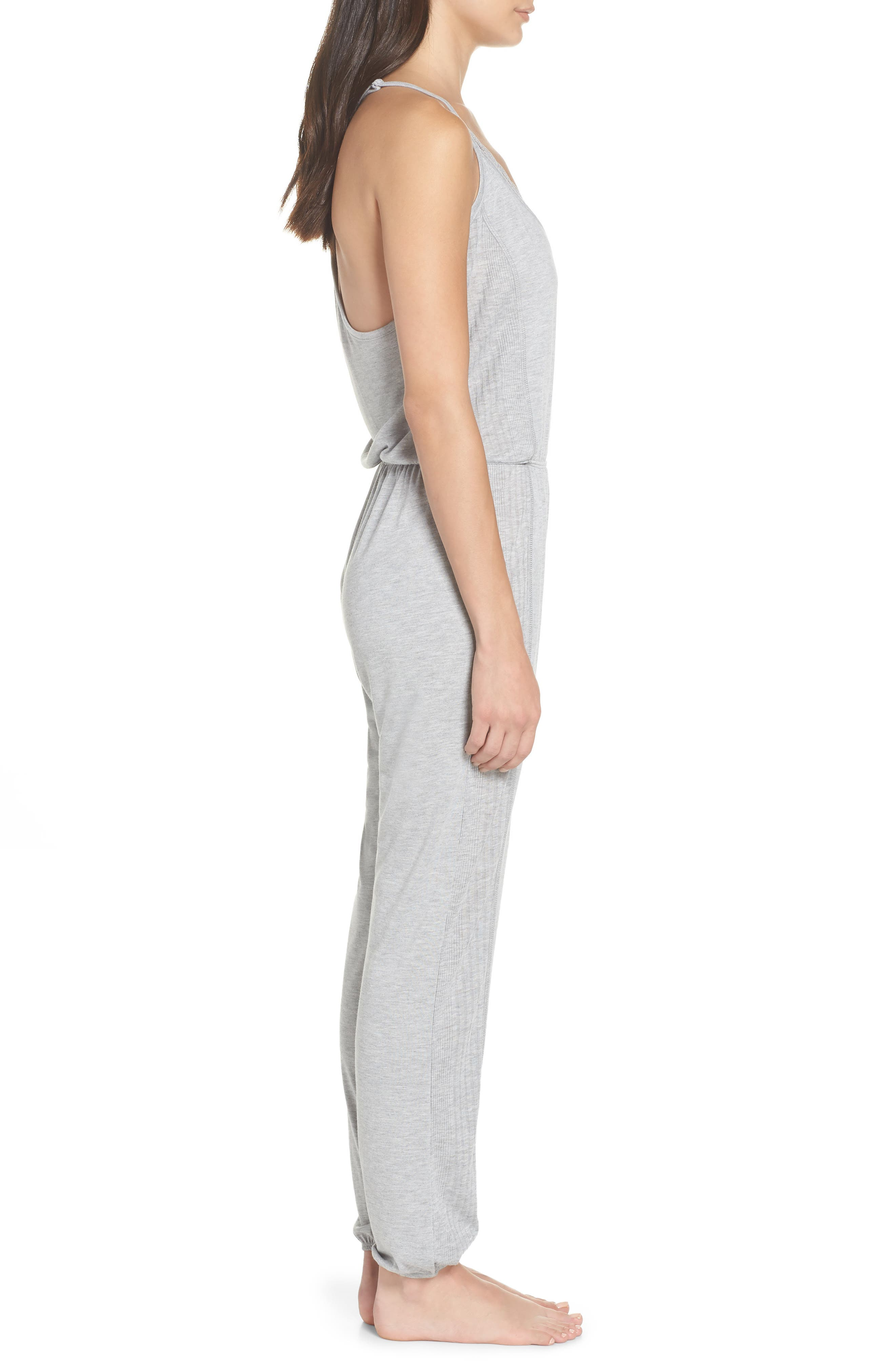 Romper Pajamas,                             Alternate thumbnail 3, color,                             Light Heather Grey