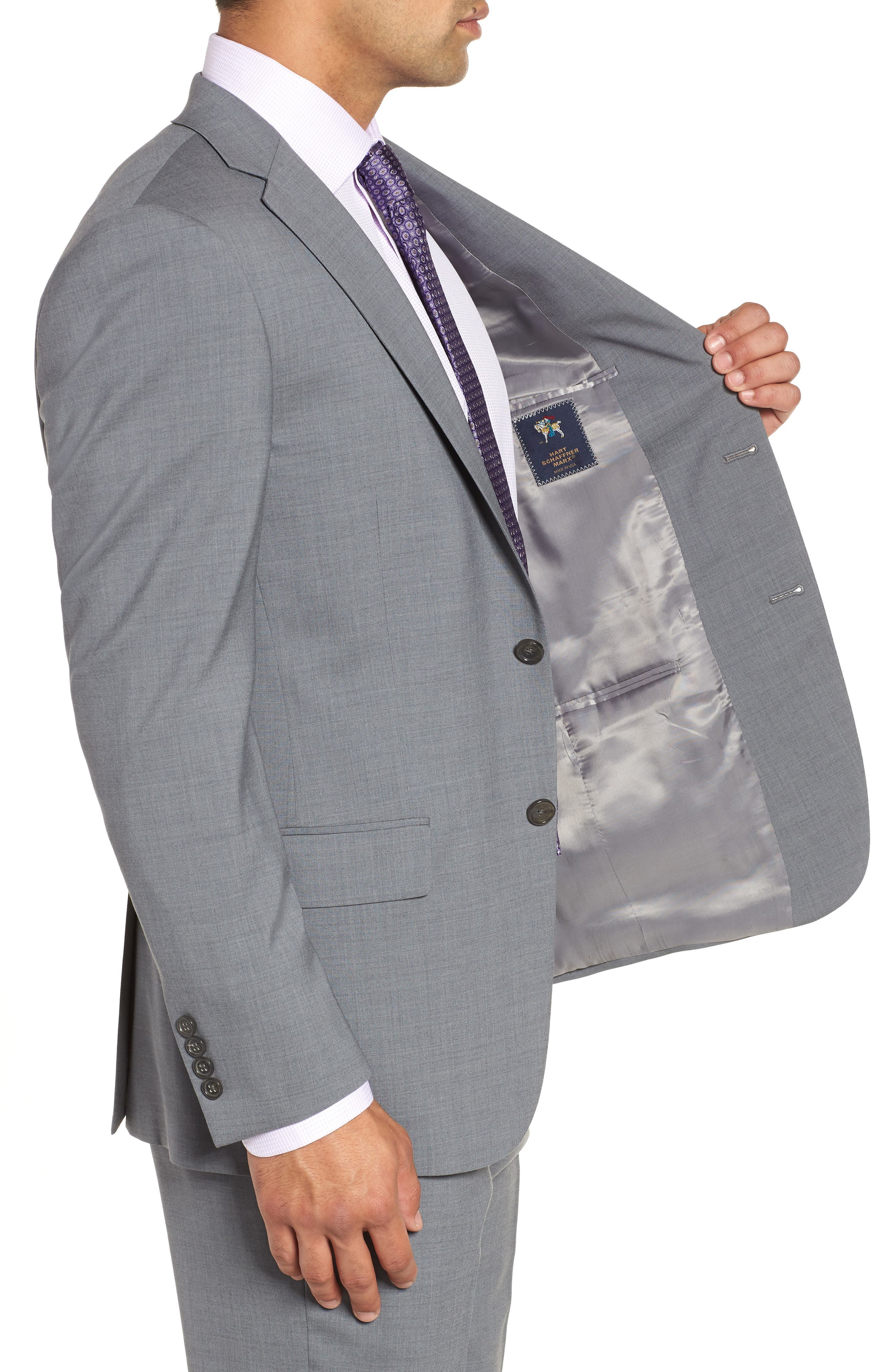 Classic Fit Solid Stretch Wool Suit,                             Alternate thumbnail 4, color,                             Grey