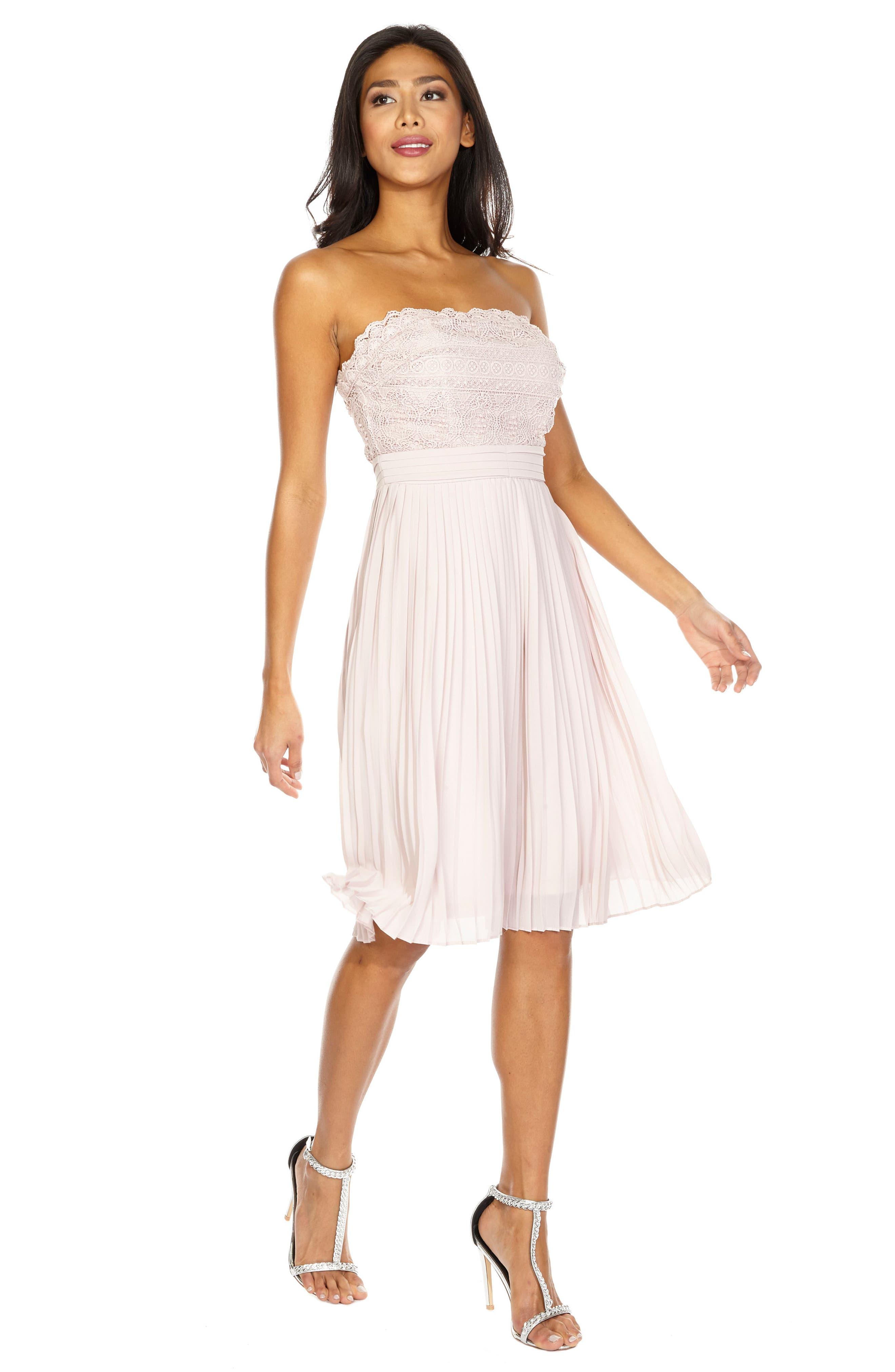Kara Pleated Strapless Dress,                             Alternate thumbnail 4, color,                             Mink