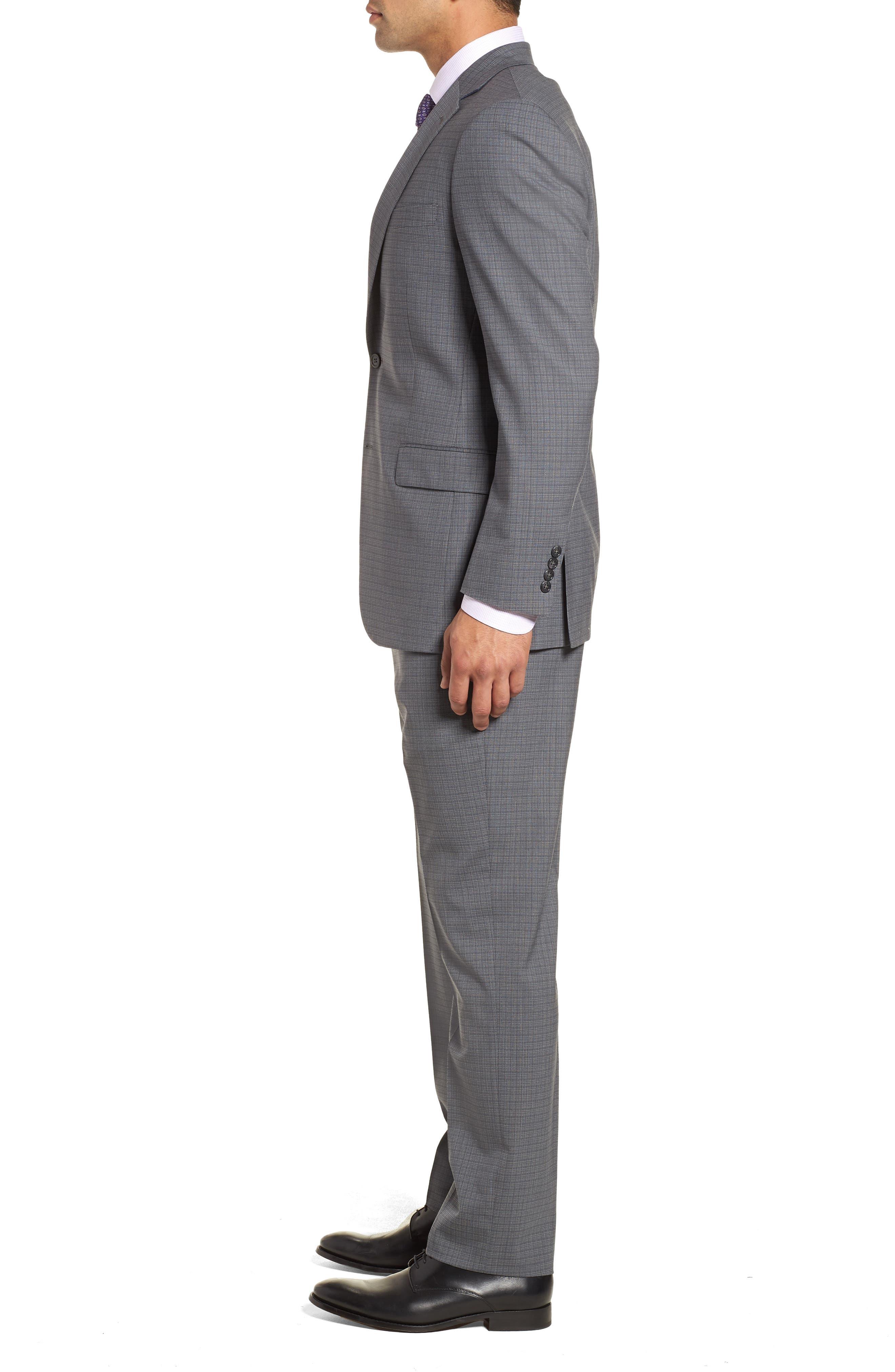Classic Fit Stretch Plaid Wool Suit,                             Alternate thumbnail 3, color,                             Grey Plaid