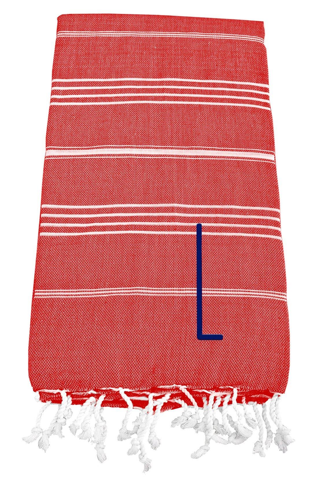 Monogram Turkish Cotton Towel,                             Main thumbnail 1, color,                             Red - L