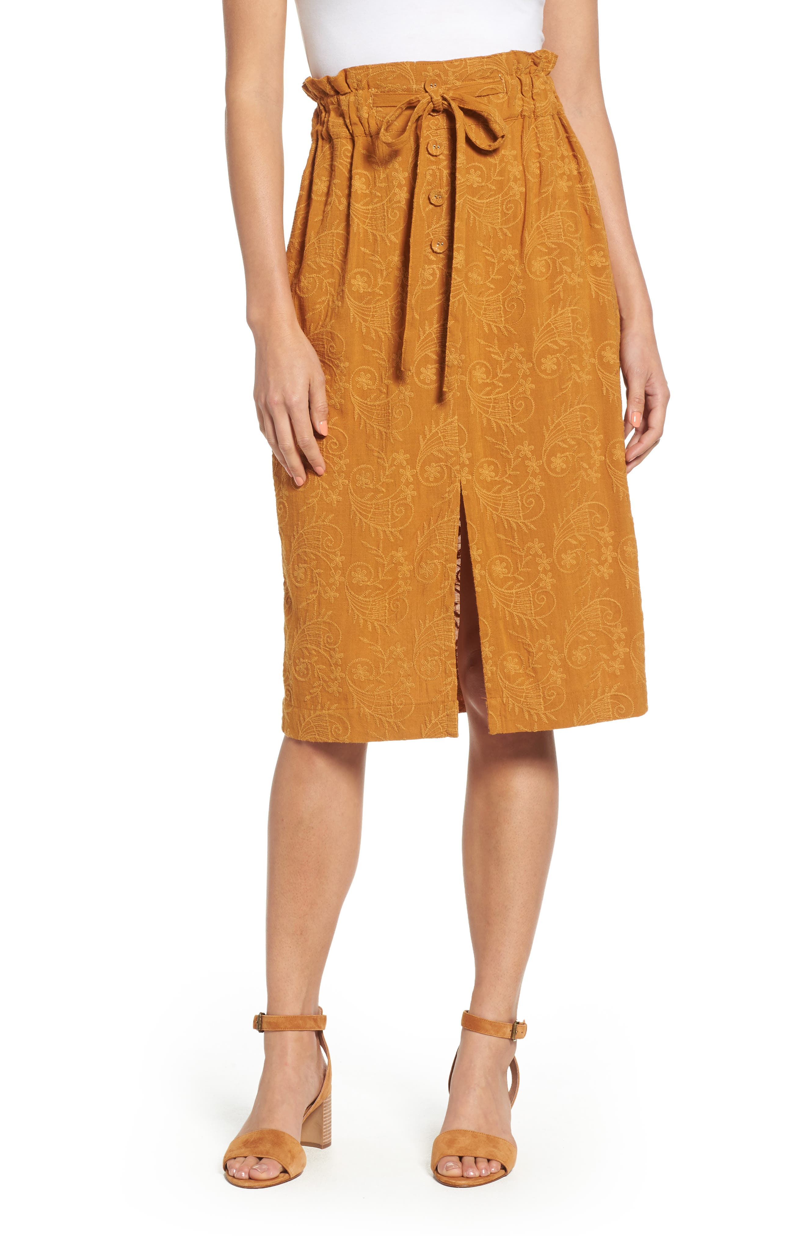 MOON RIVER EMBROIDERED PAPERBAG WAIST SKIRT