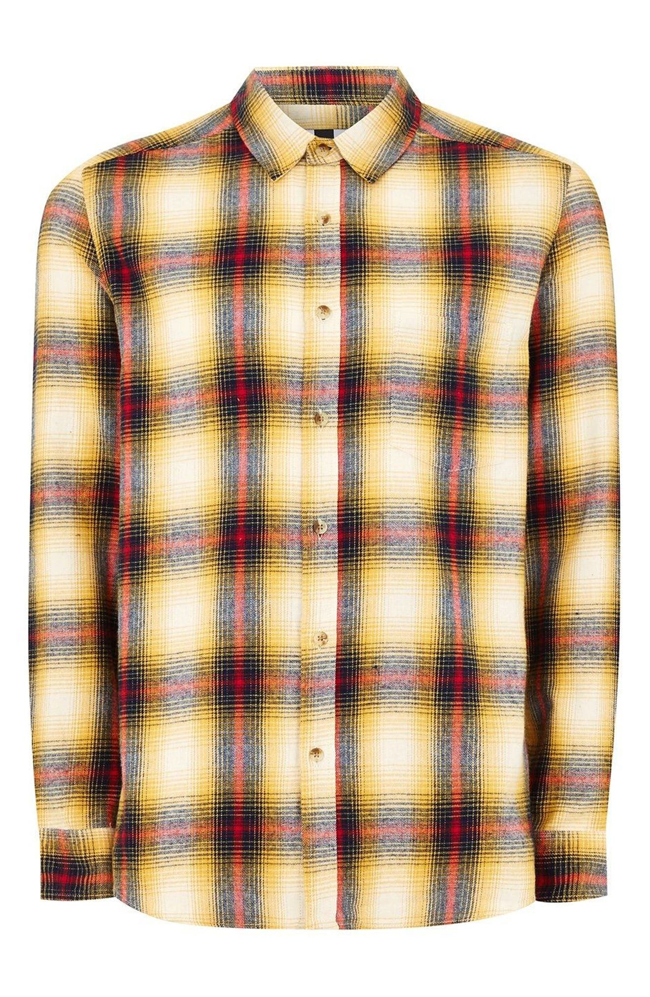 Check Flannel Shirt,                             Alternate thumbnail 2, color,                             Yellow Multi