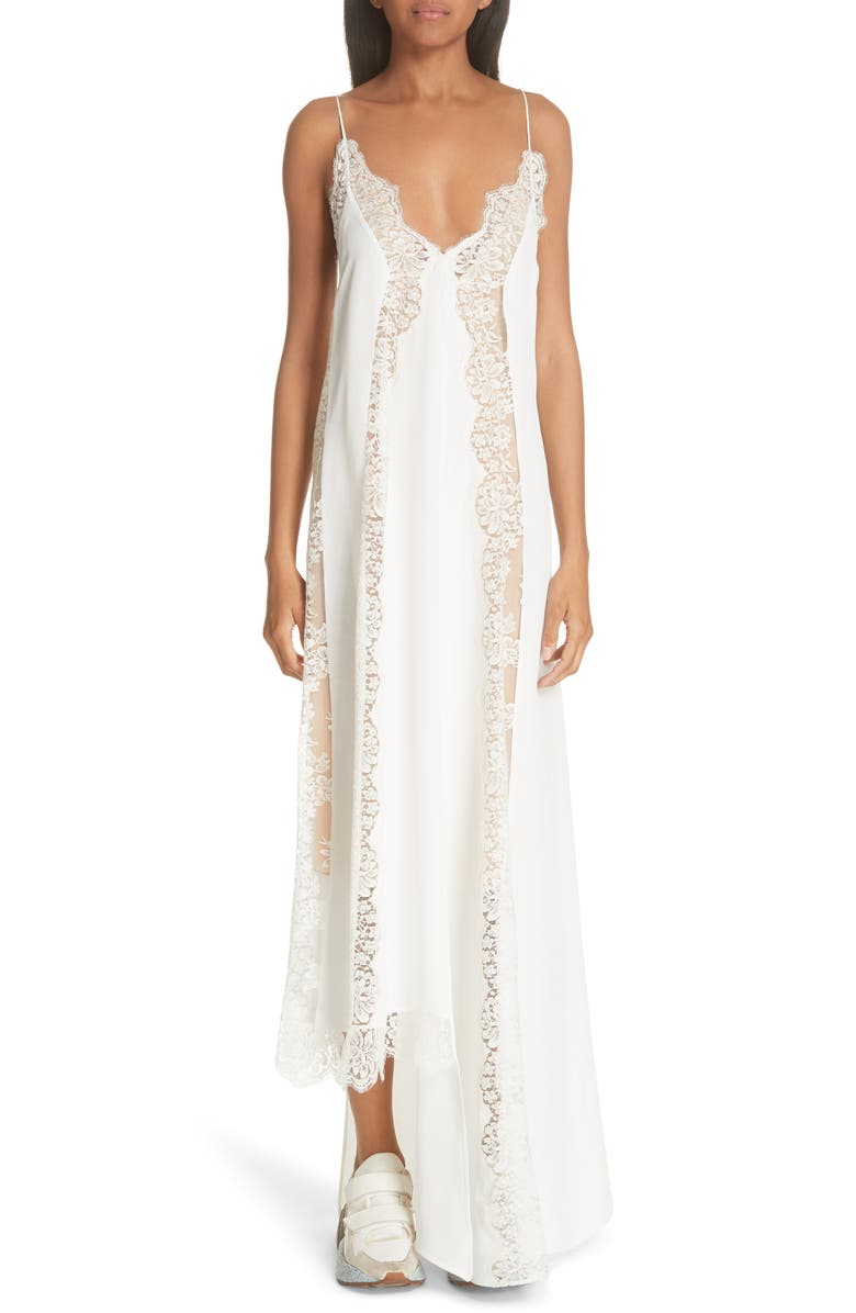 Lace Panel Asymmetrical Silk Dress