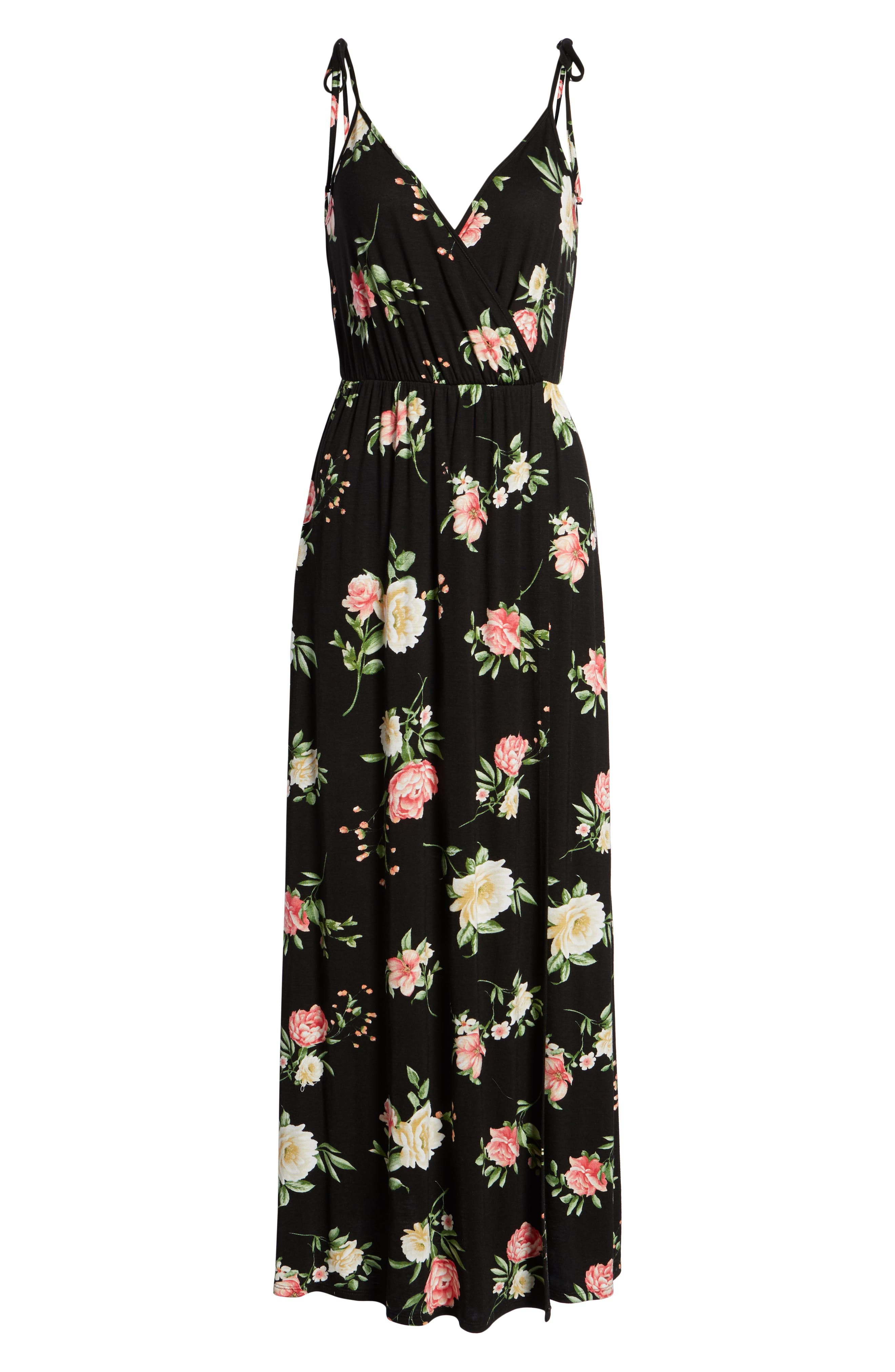 Faux Wrap Maxi Dress,                             Alternate thumbnail 7, color,                             Black/ Coral