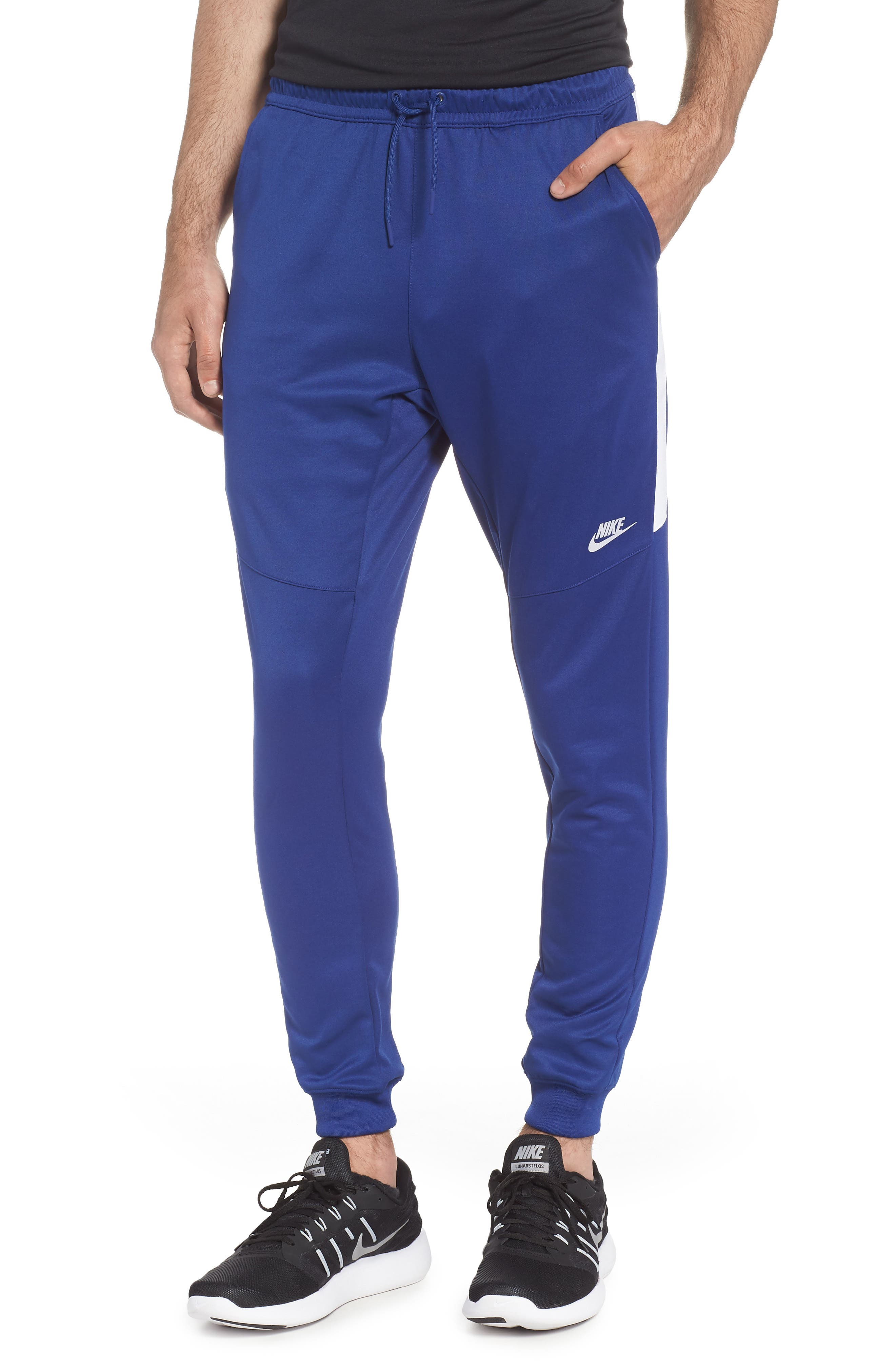 Tribute Jogger Pants,                         Main,                         color, Deep Royal Blue/ White/ White