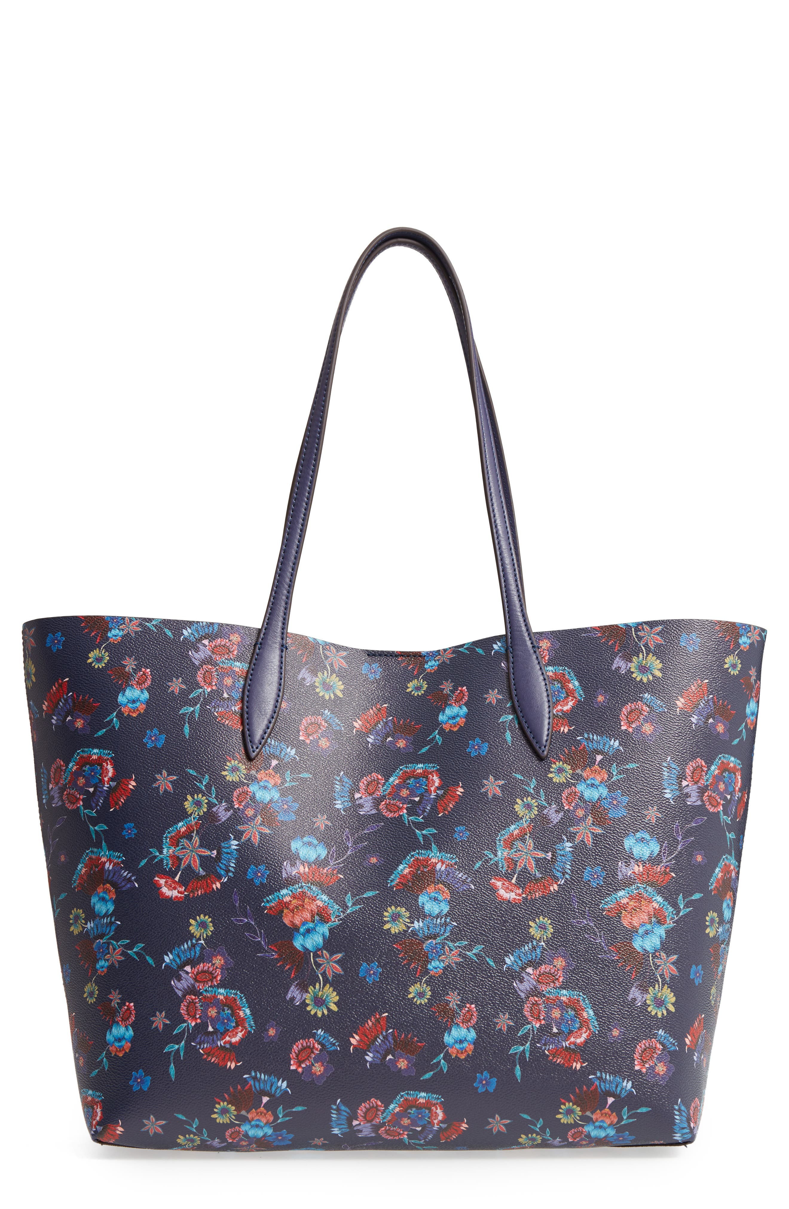 Large Heather Tote,                             Main thumbnail 1, color,                             Floral Blue