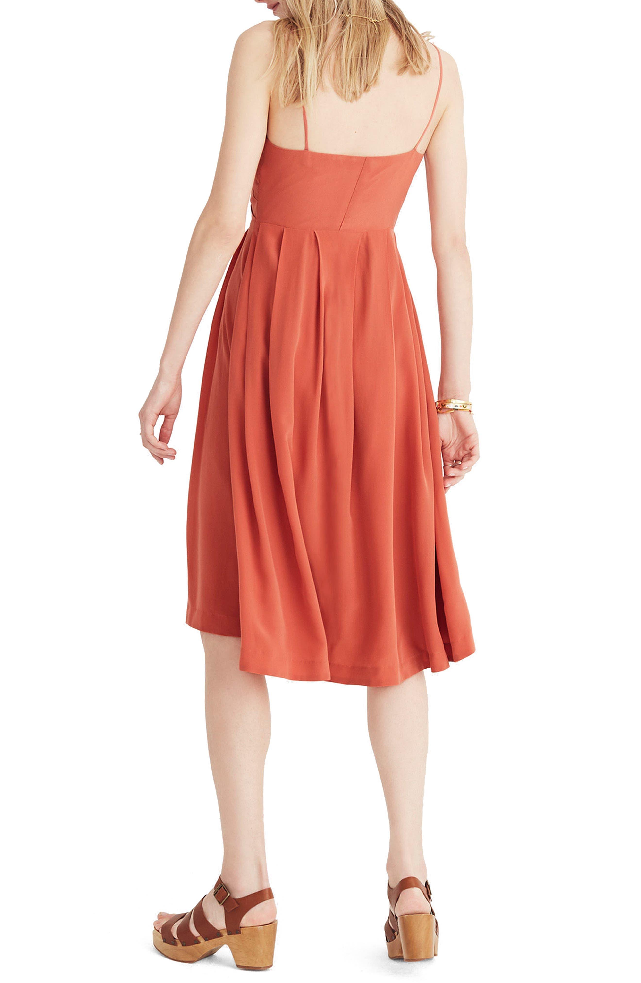 Fern Silk Faux Wrap Dress,                             Alternate thumbnail 2, color,                             Spiced Rose