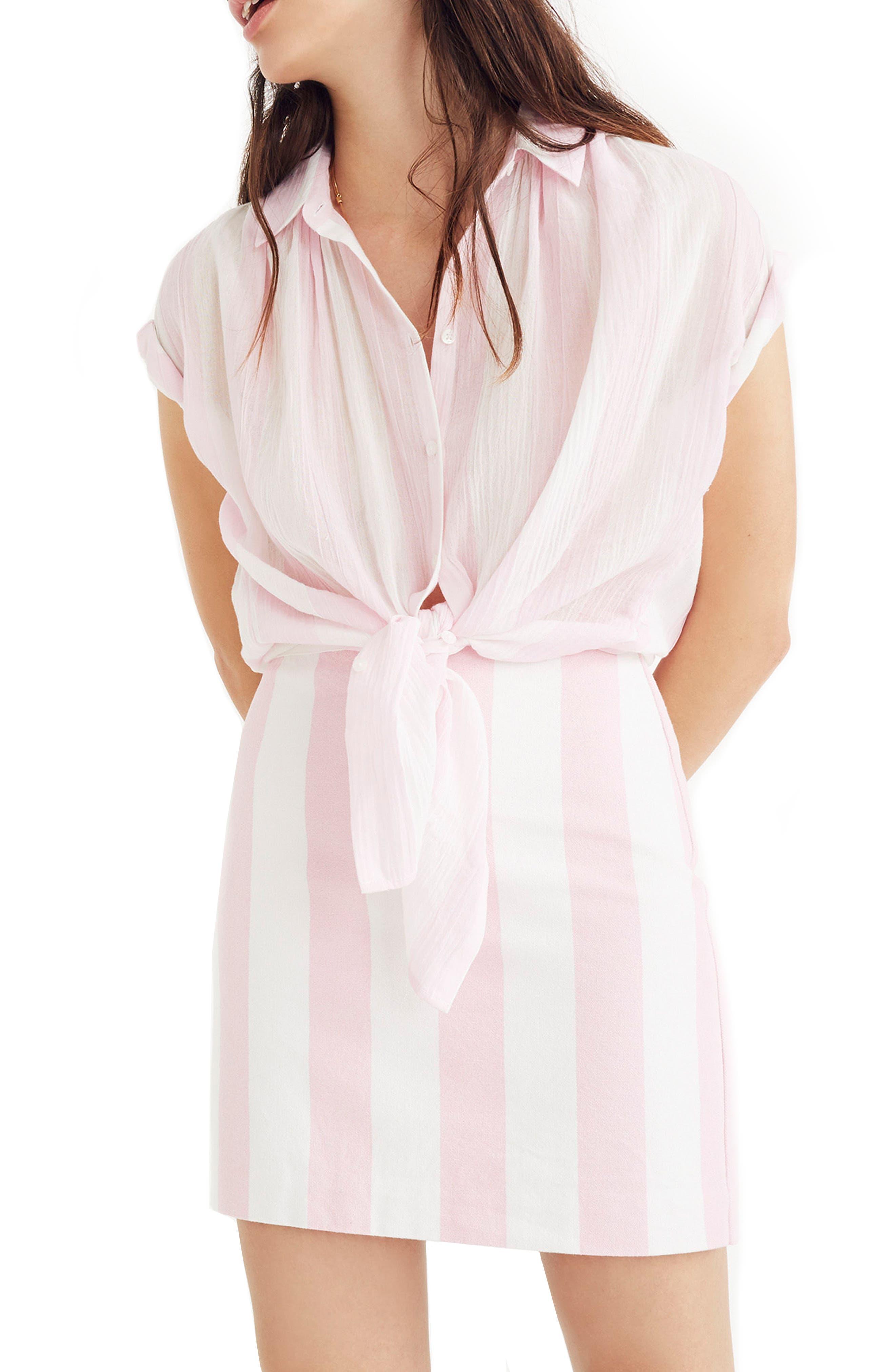 Gamine Stripe Miniskirt,                             Main thumbnail 1, color,                             Petal Pink