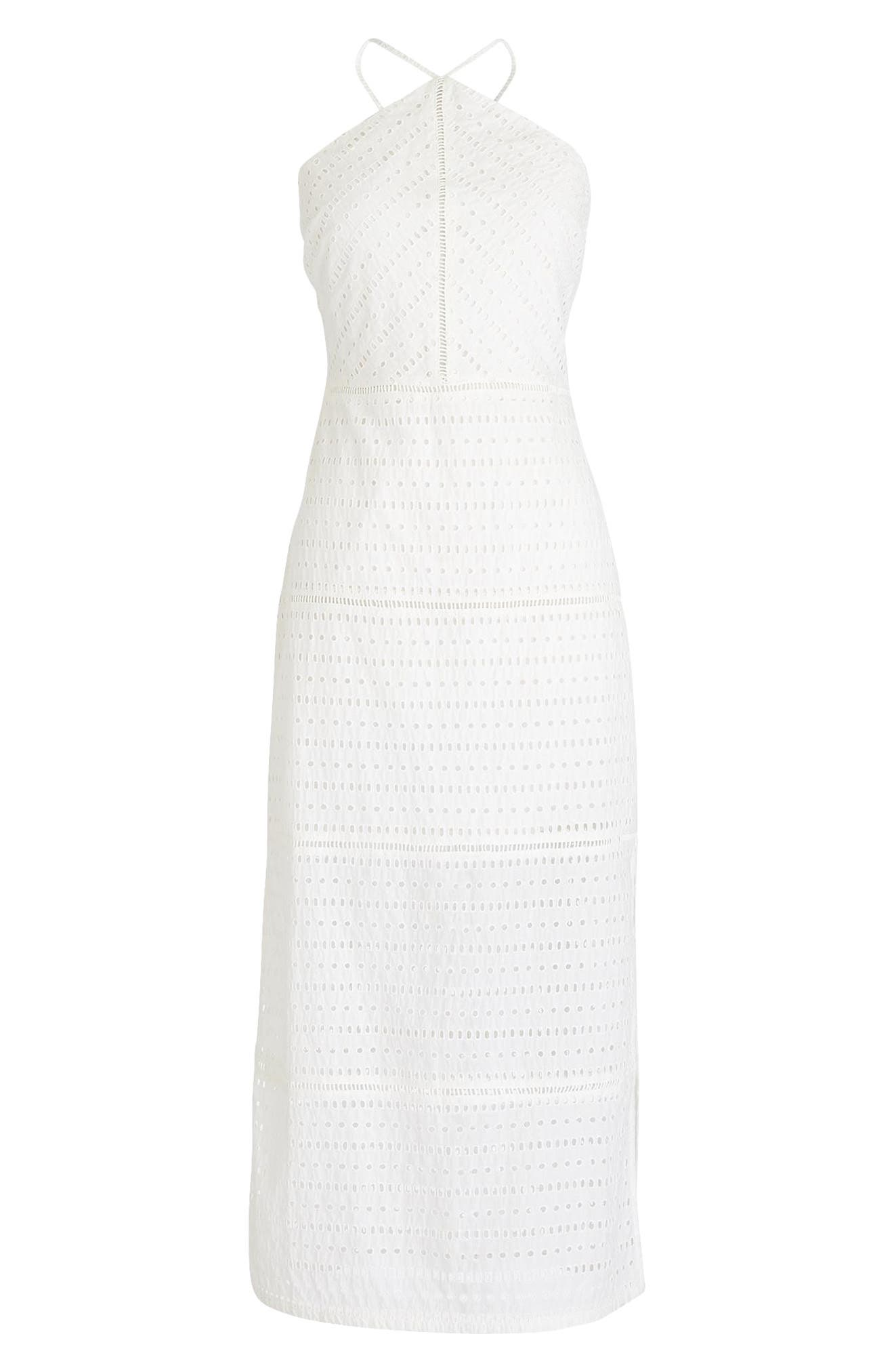 String Halter Eyelet Dress,                             Alternate thumbnail 4, color,                             White