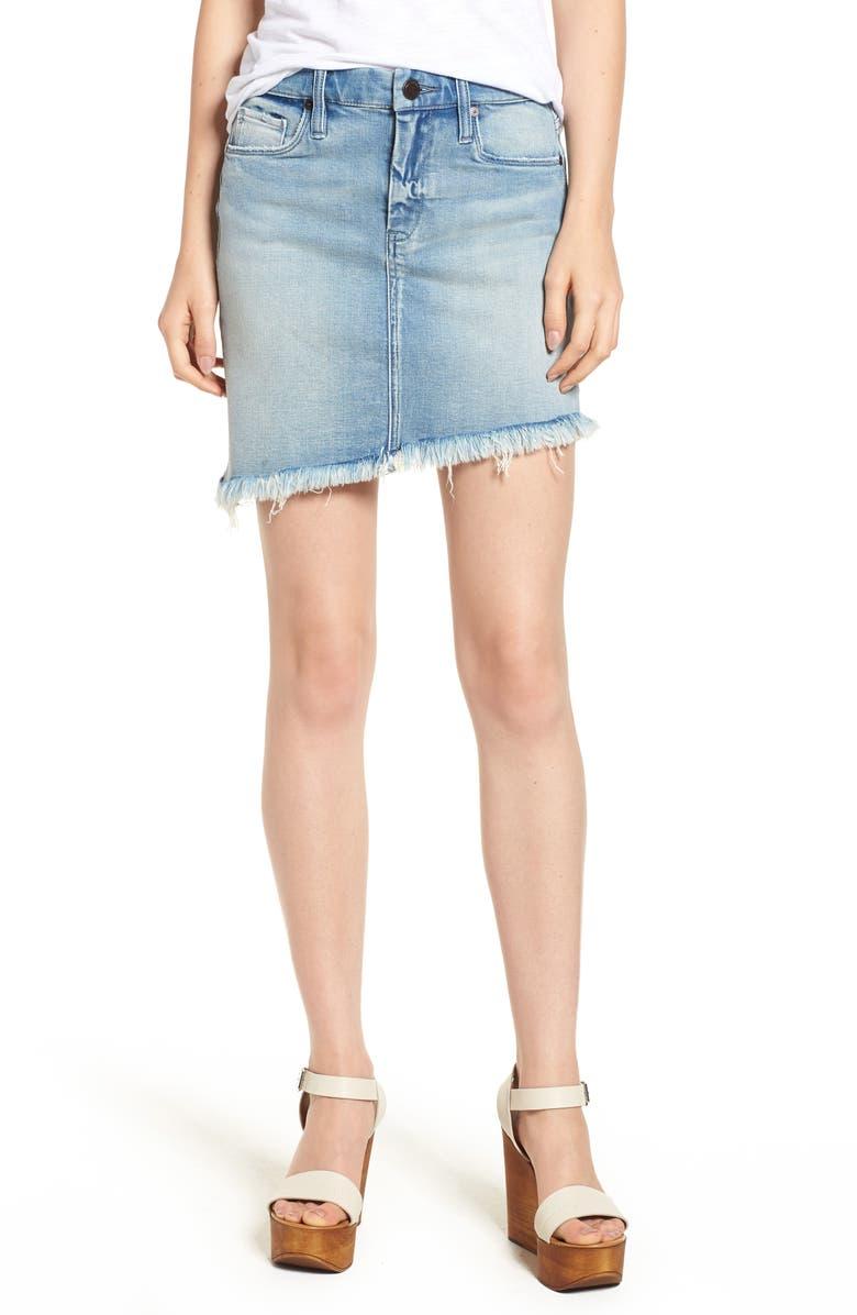 Asymmetrical Raw Hem Denim Skirt