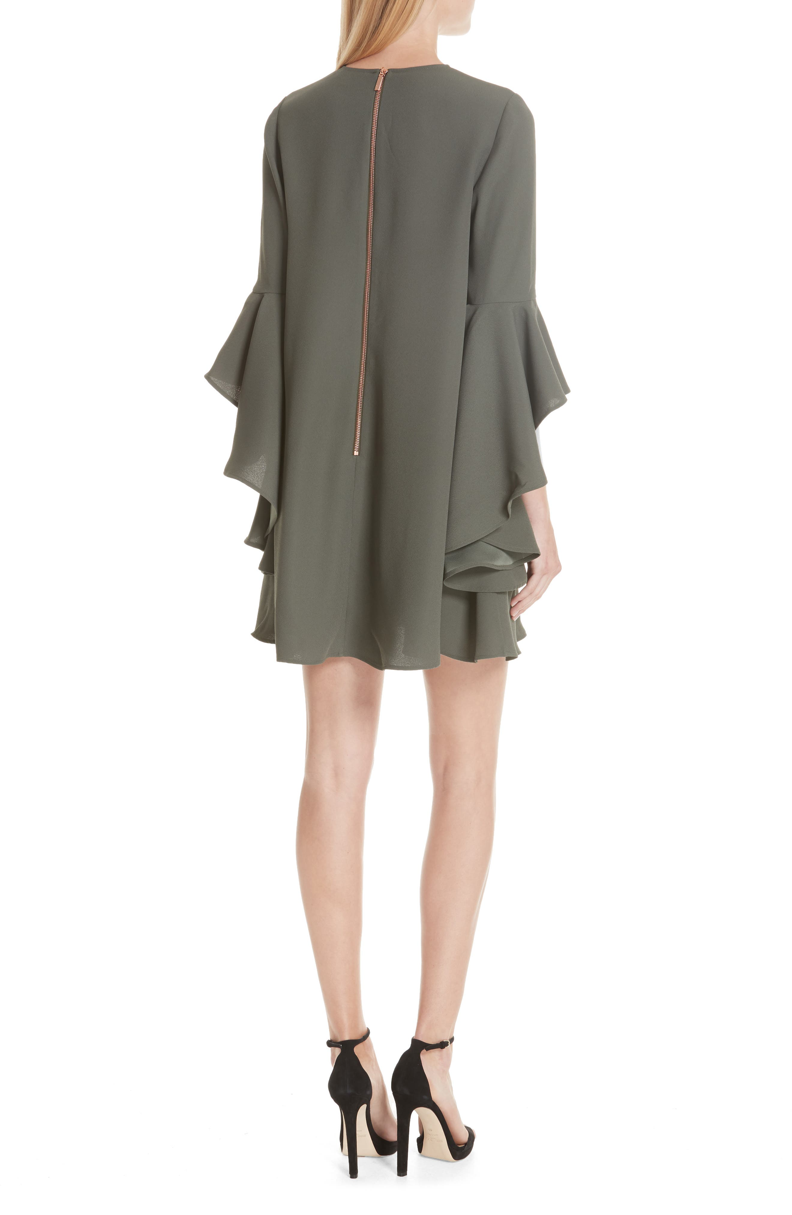 Ashley Waterfall Sleeve A-Line Dress,                             Alternate thumbnail 2, color,                             Dark Green
