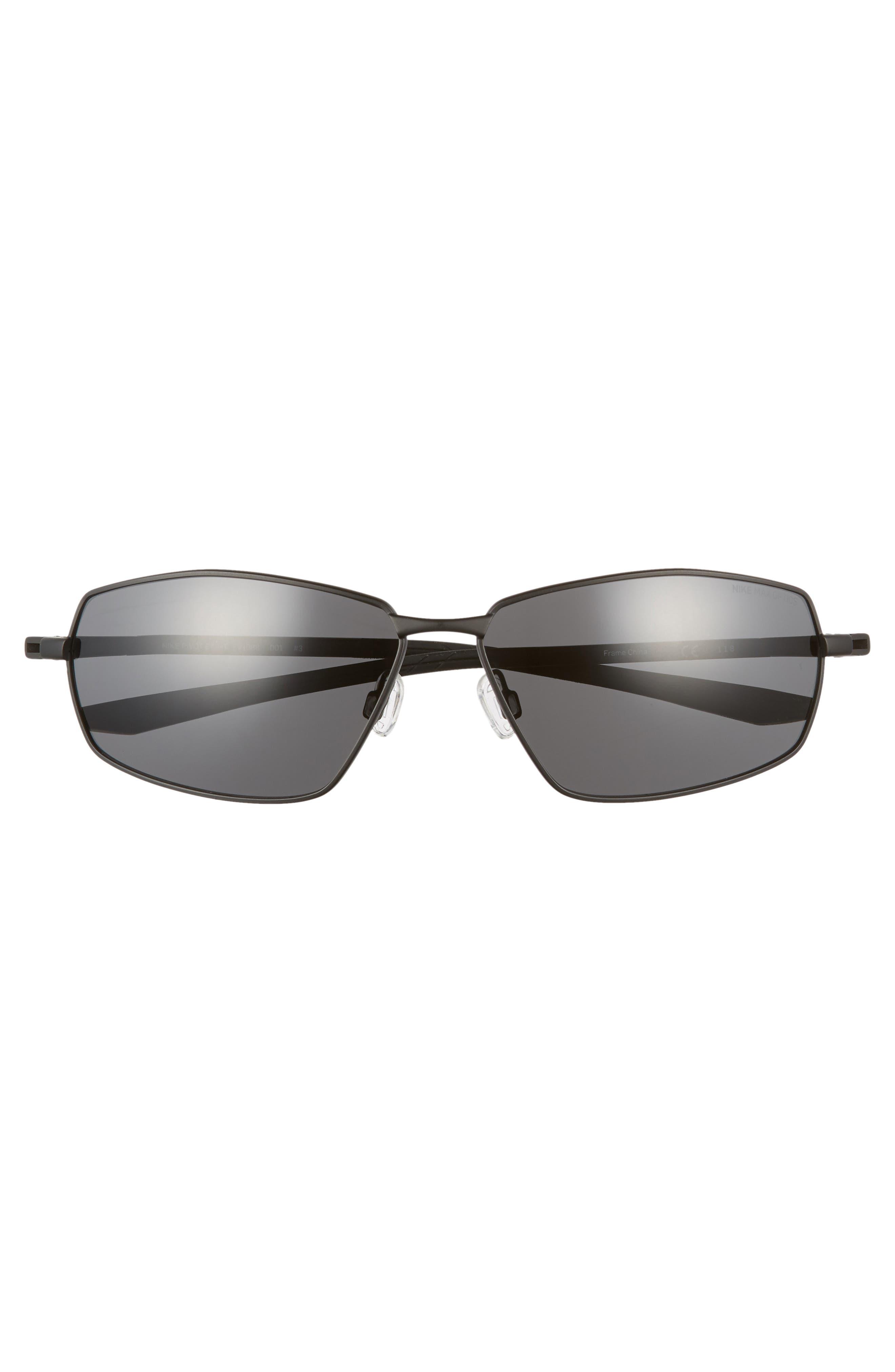 Pivot Eight 63mm Oversize Sunglasses,                             Alternate thumbnail 2, color,                             Satin Black/ Dark Grey