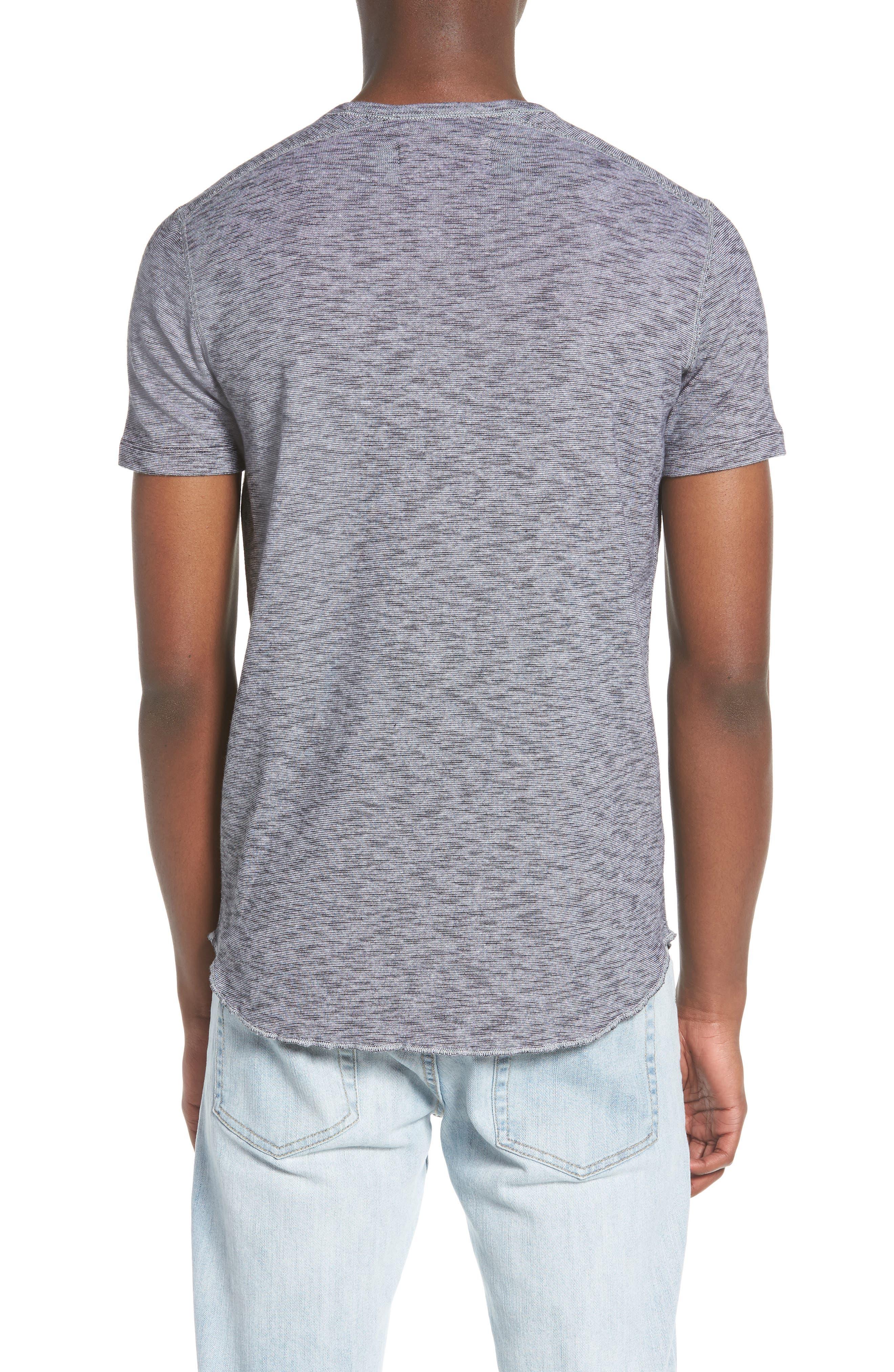 Ribbed Slub Cotton T-Shirt,                             Alternate thumbnail 2, color,                             Feeder Stripe Grey