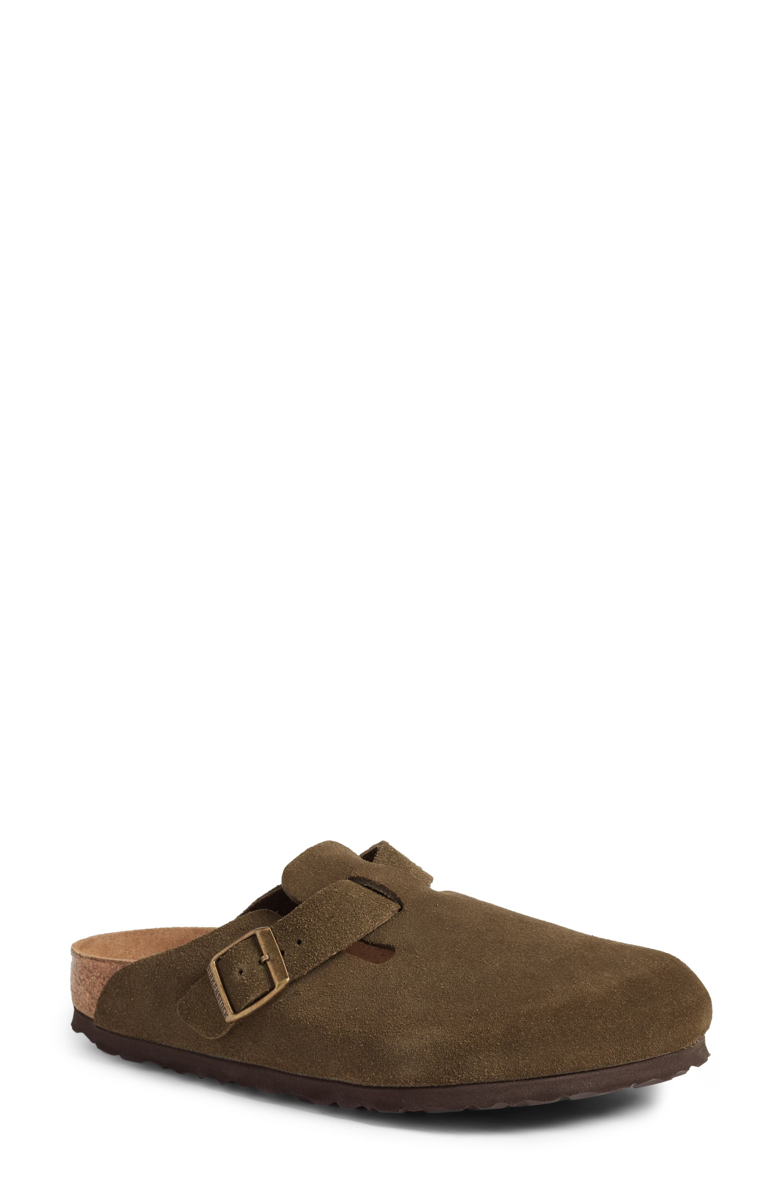 'Boston' Soft Footbed Clog,                             Main thumbnail 1, color,                             Forest Suede