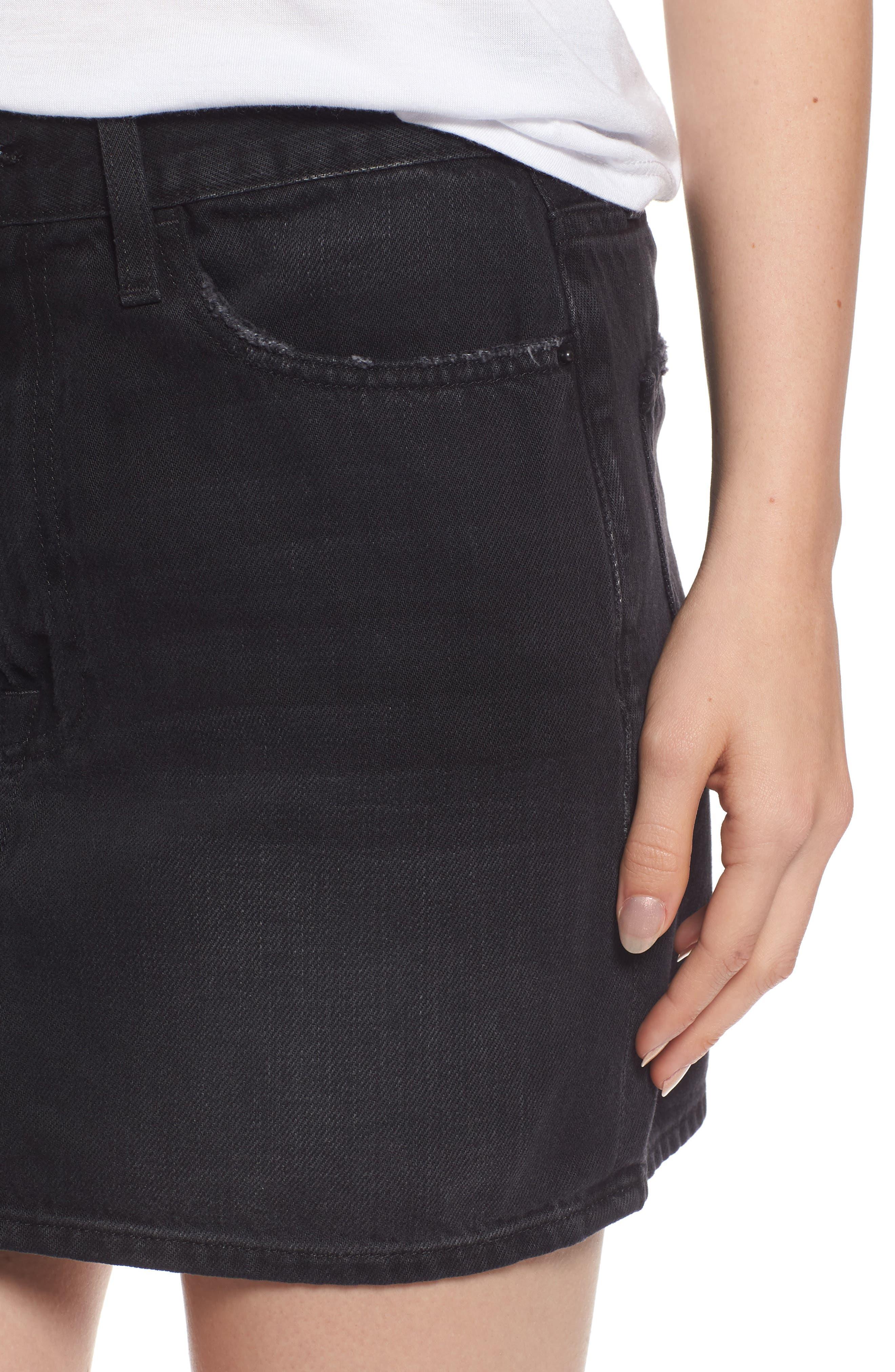 Le Mini Denim Skirt,                             Alternate thumbnail 4, color,                             Conwell