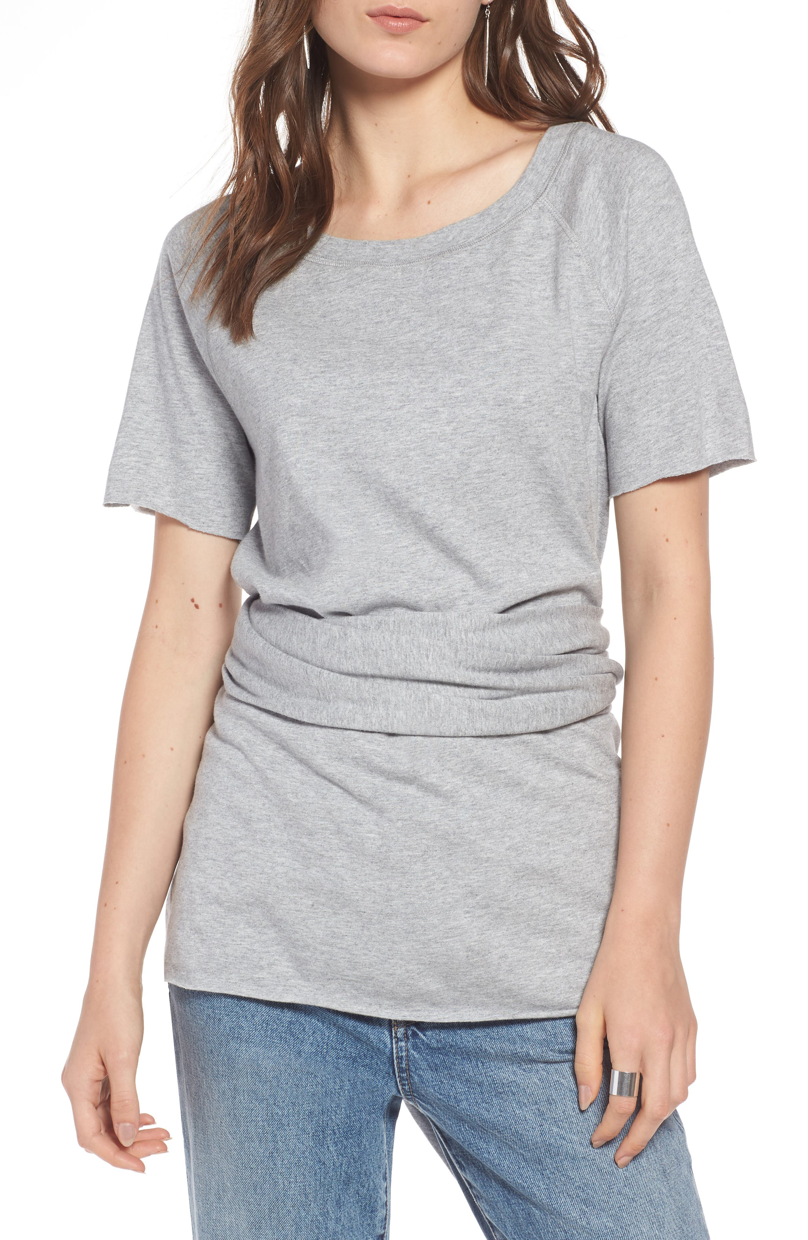 Tie Back Tee,                             Main thumbnail 1, color,                             Grey Heather