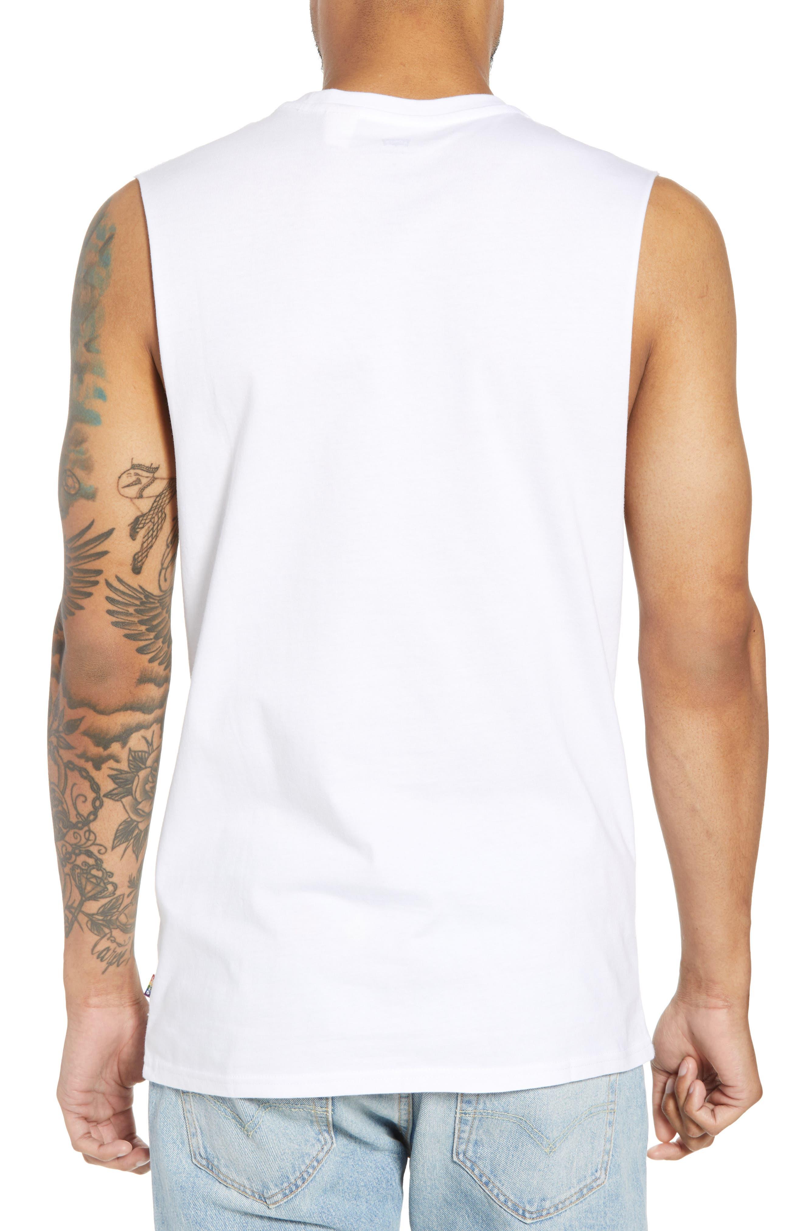 Community Sleeveless T-Shirt,                             Alternate thumbnail 2, color,                             I Am Rainbow Gradient White