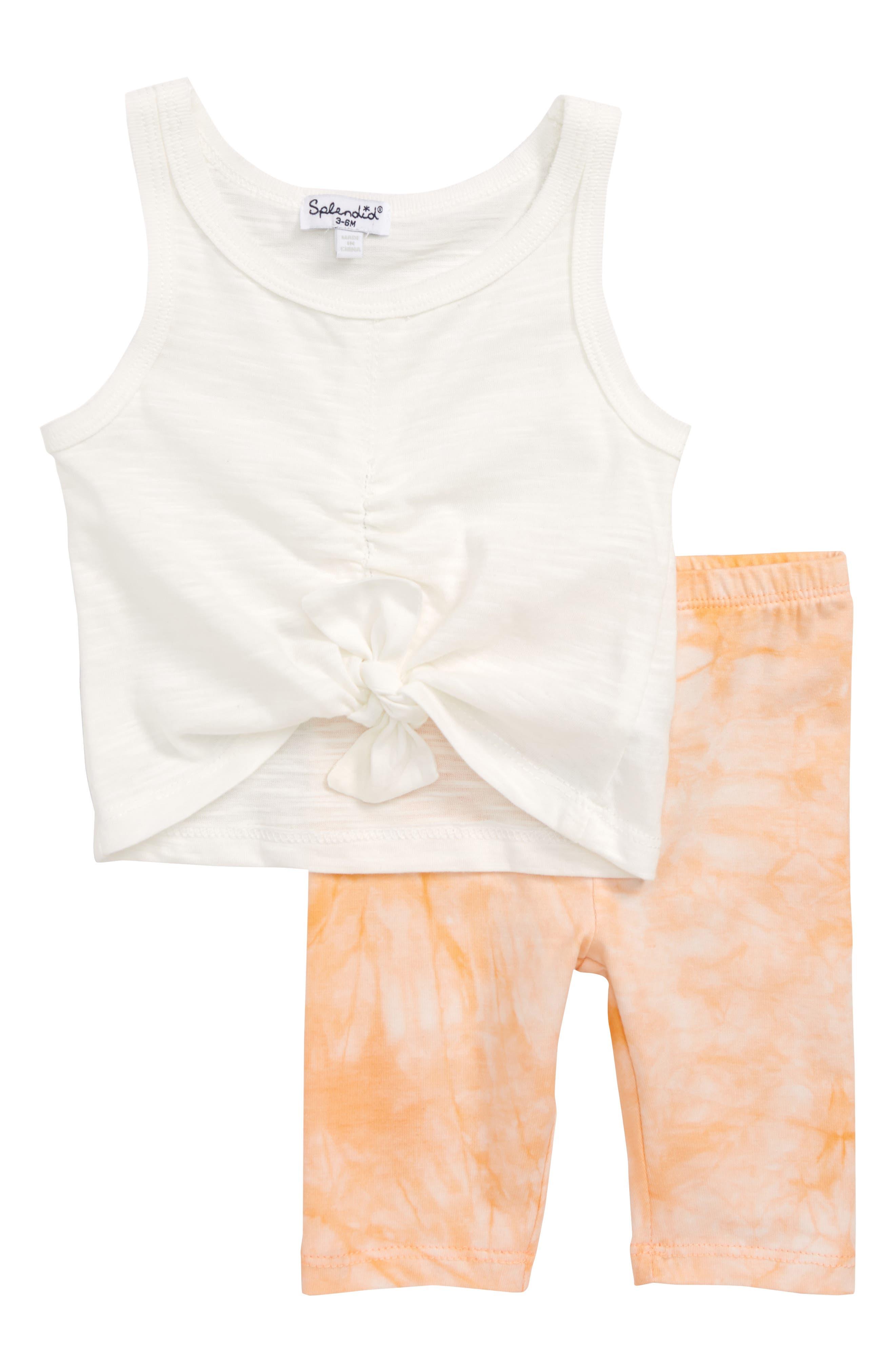 Front Knot Tank & Tie Dye Leggings Set,                         Main,                         color, Off White