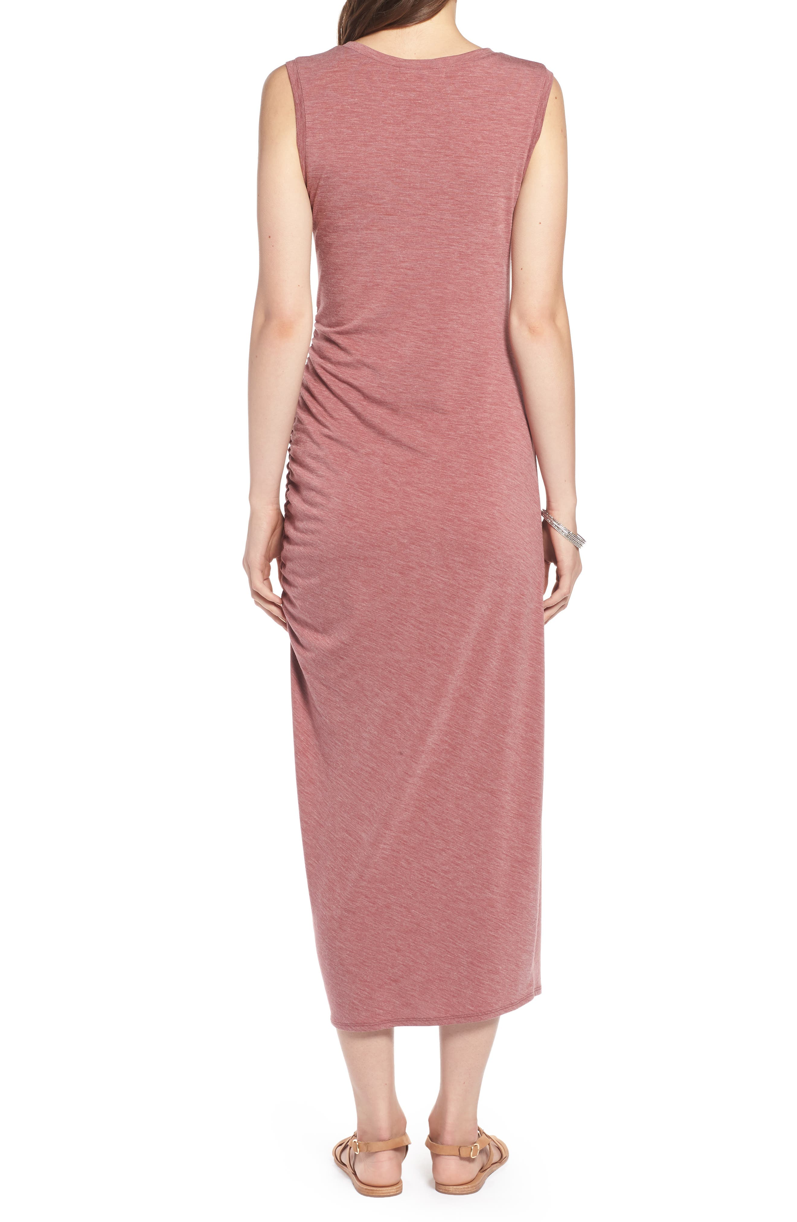Sleeveless Side Ruched Dress,                             Alternate thumbnail 2, color,                             Burgundy Rouge Heather