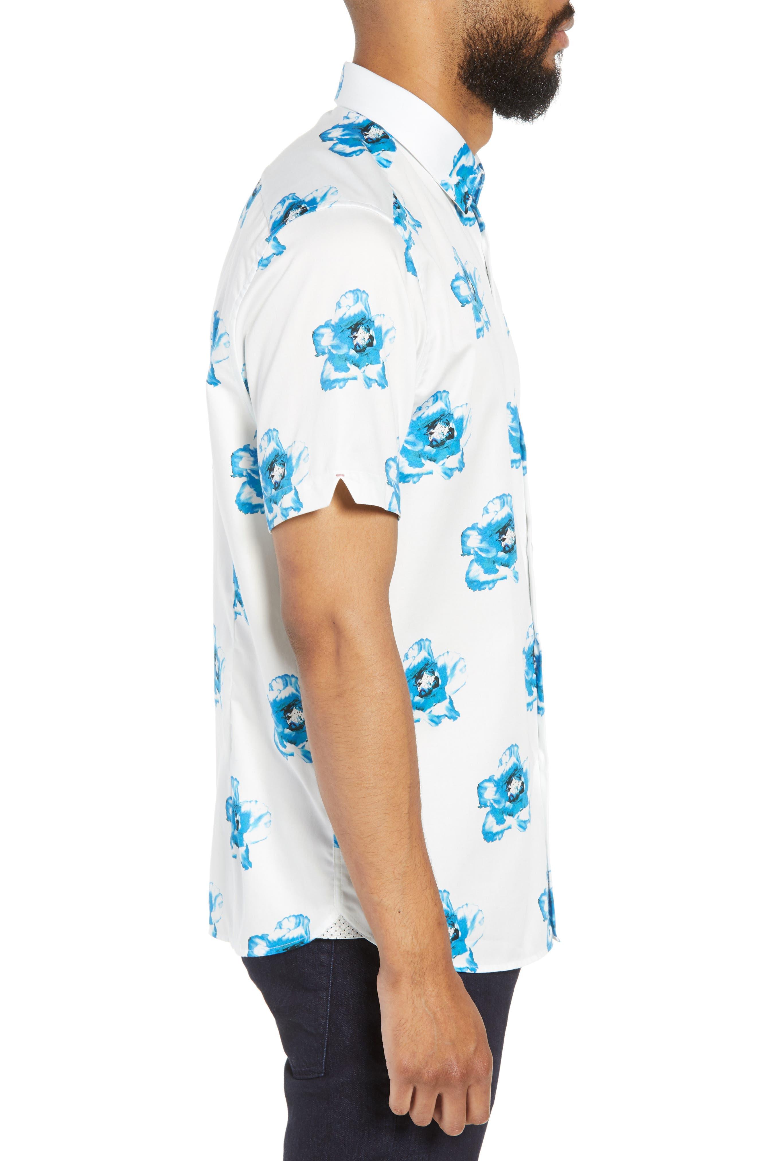 Silky Trim Fit Short Sleeve Sport Shirt,                             Alternate thumbnail 4, color,                             White