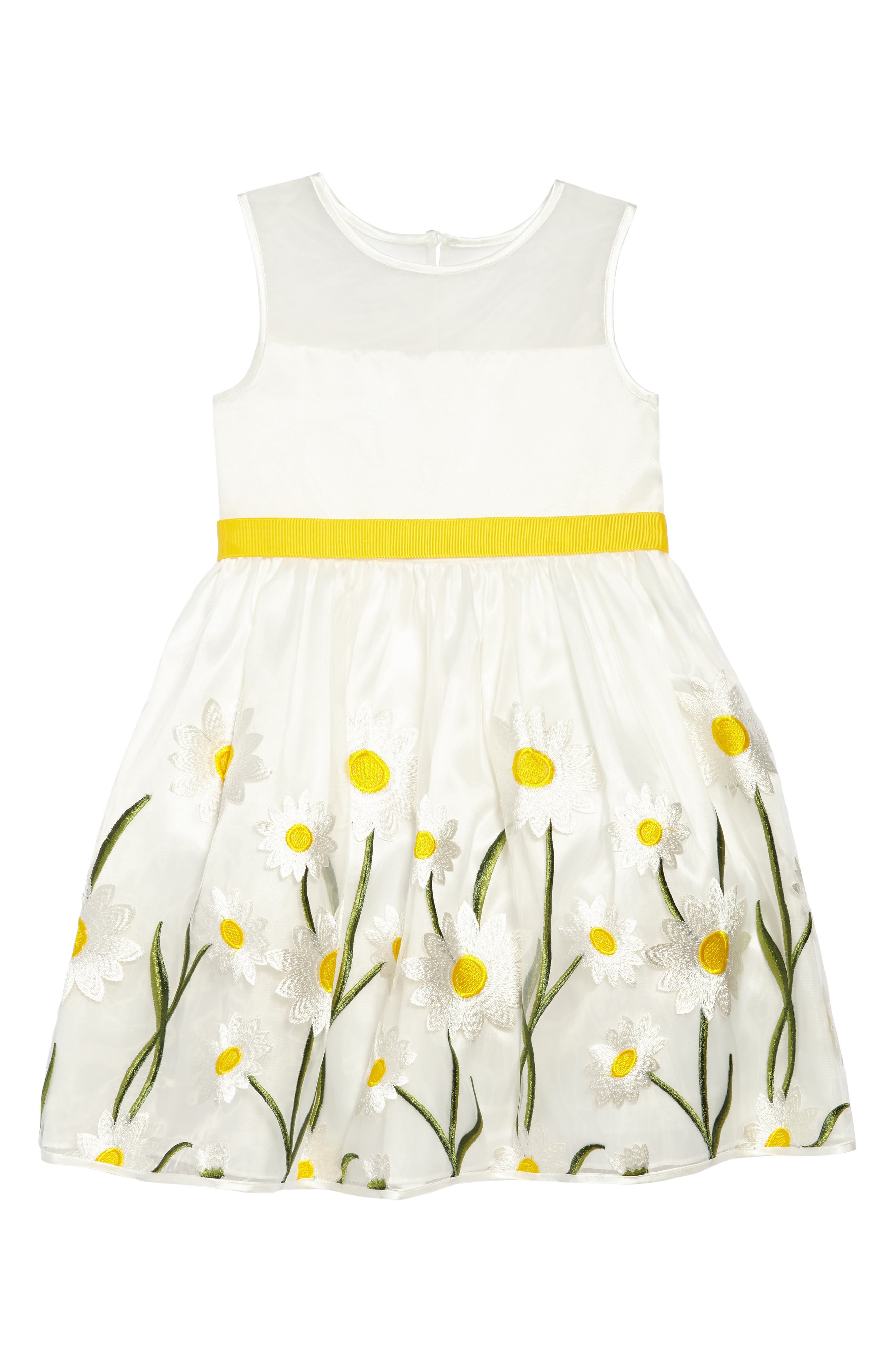 Embroidered Daisy Fit & Flare Dress,                             Main thumbnail 1, color,                             White