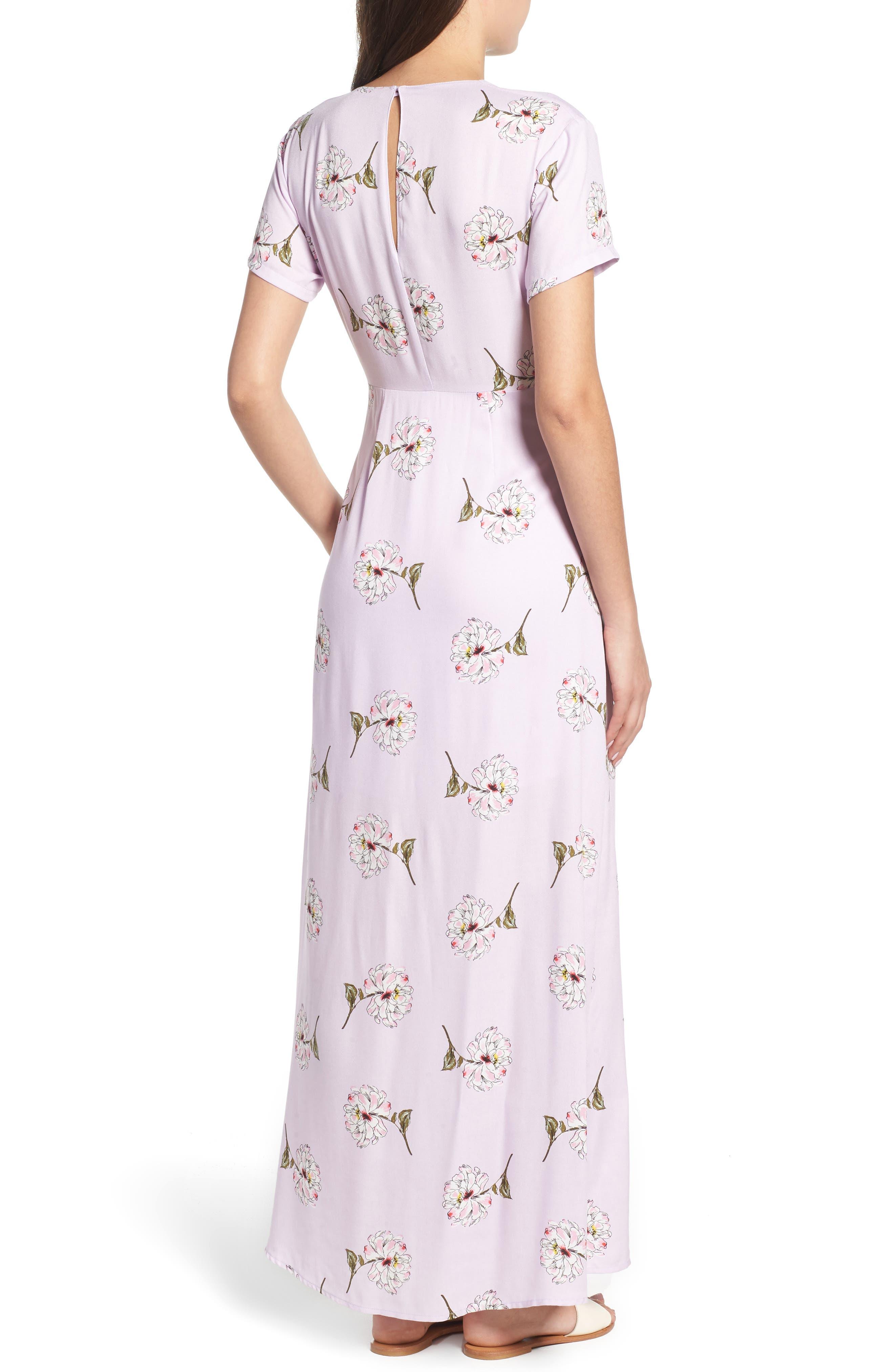 Cutout Tie Front Maxi Dress,                             Alternate thumbnail 2, color,                             Lavender Floral
