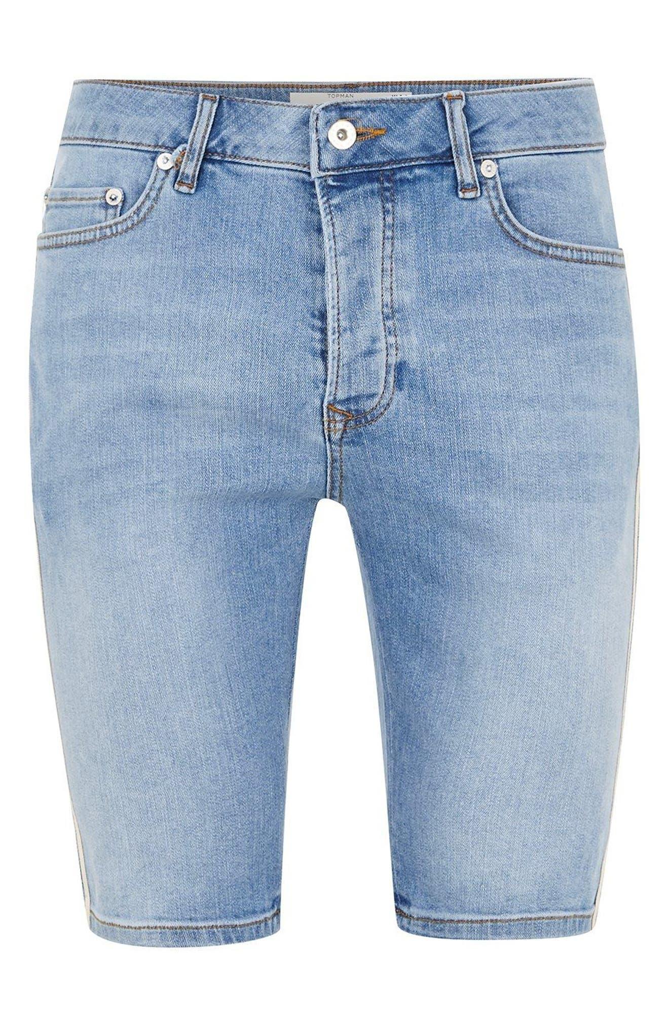 Tape Stretch Skinny Fit Denim Shorts,                             Alternate thumbnail 3, color,                             Blue