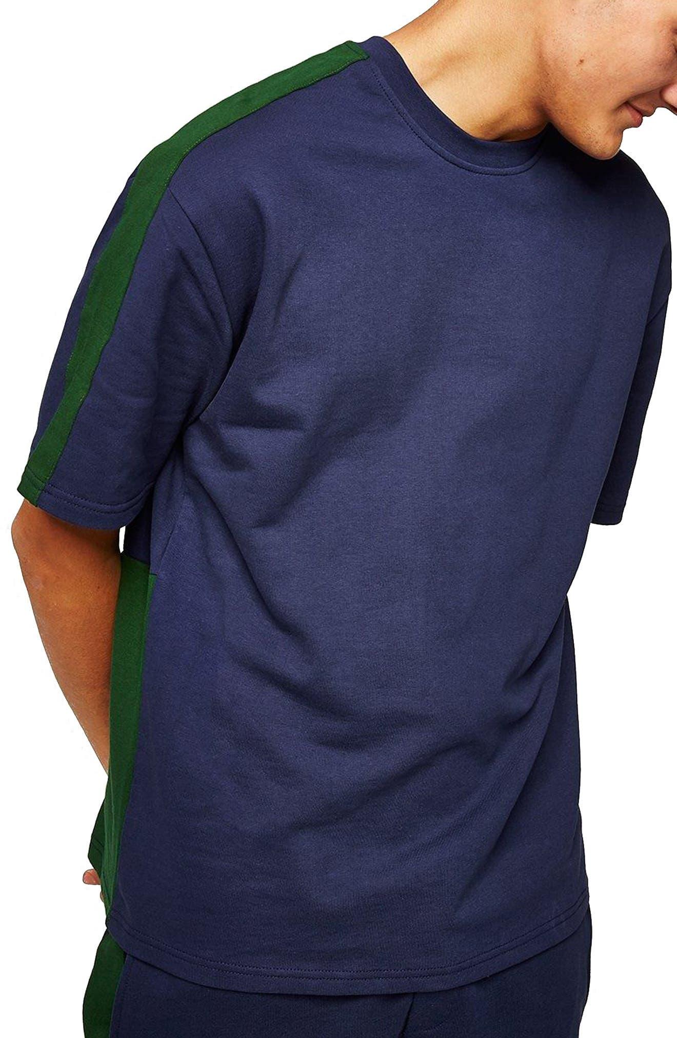 Colorblock Short Sleeve Sweatshirt,                             Main thumbnail 1, color,                             Navy Blue Multi