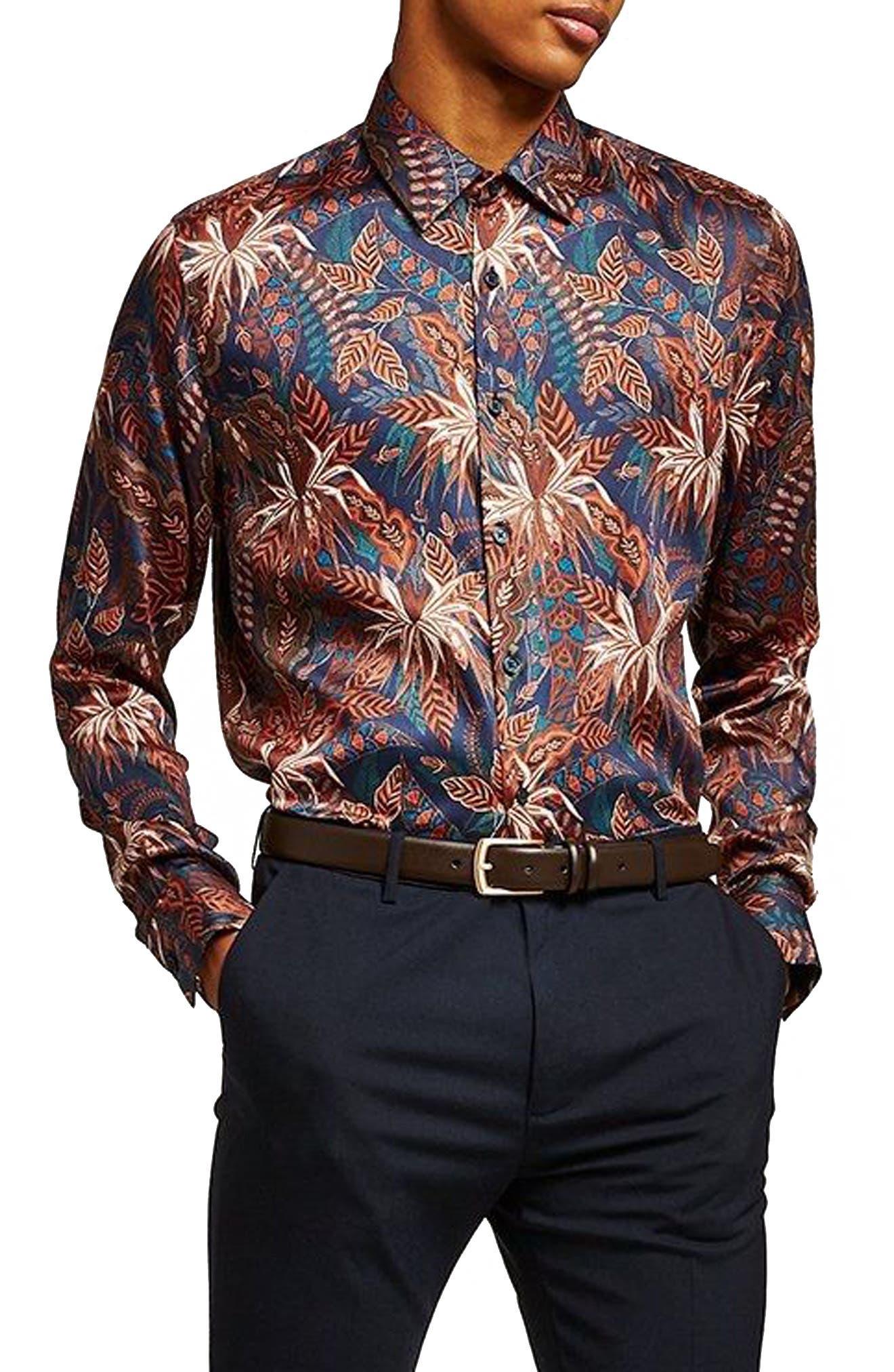 Slim Fit Floral Print Shirt,                             Main thumbnail 1, color,                             Blue Multi