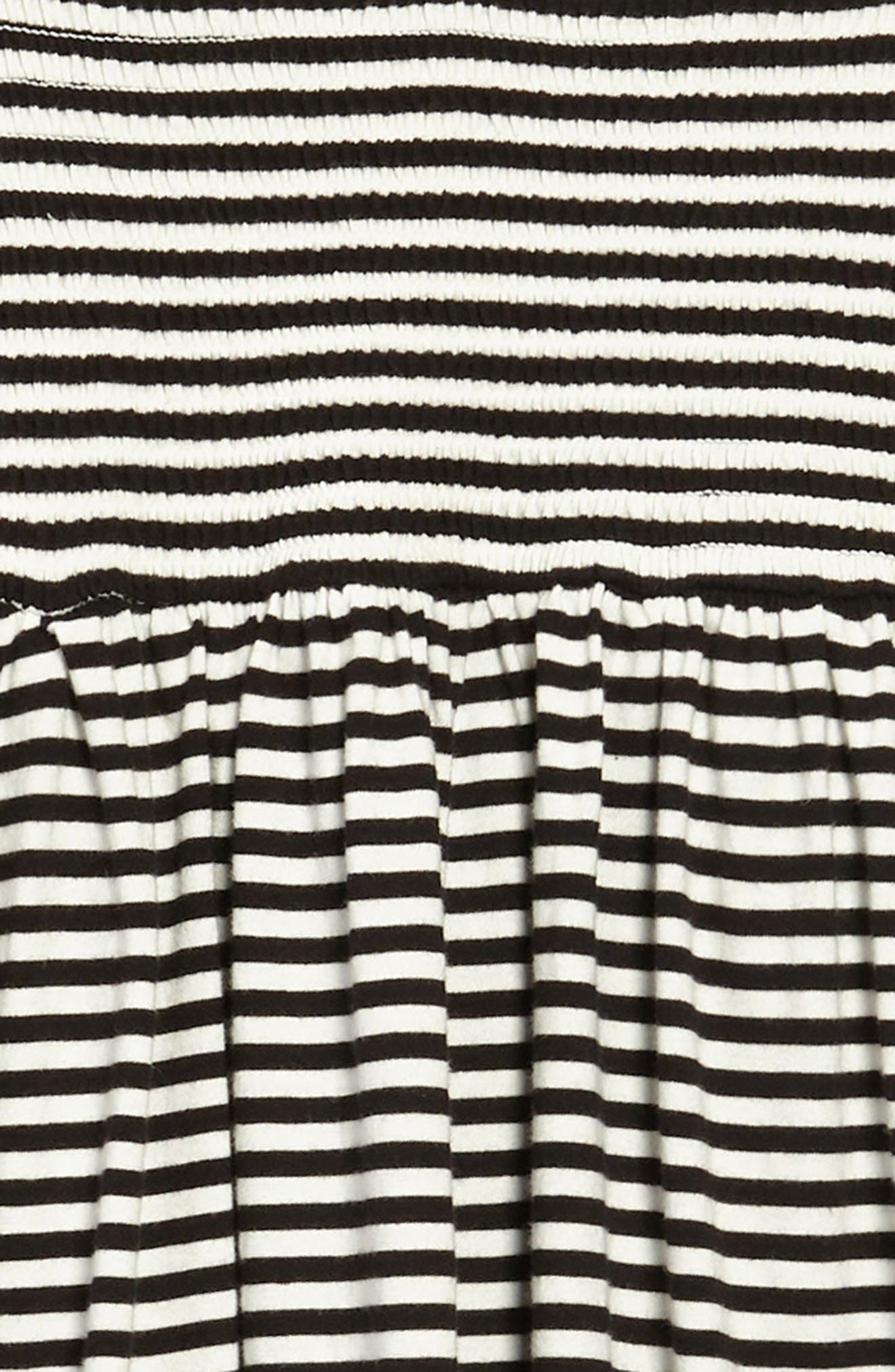 Stripe Smocked Bodice Dress,                             Alternate thumbnail 3, color,                             Black Ivory Stripe