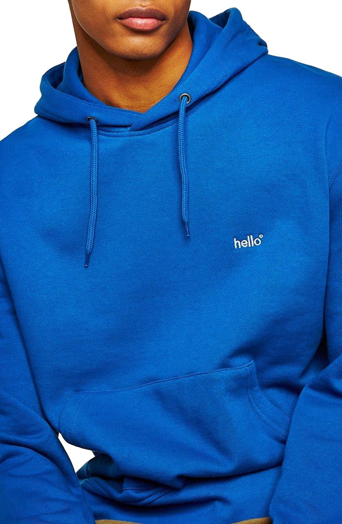 Classic Fit Tristan Hello Embroidered Hoodie,                         Main,                         color, Blue Multi