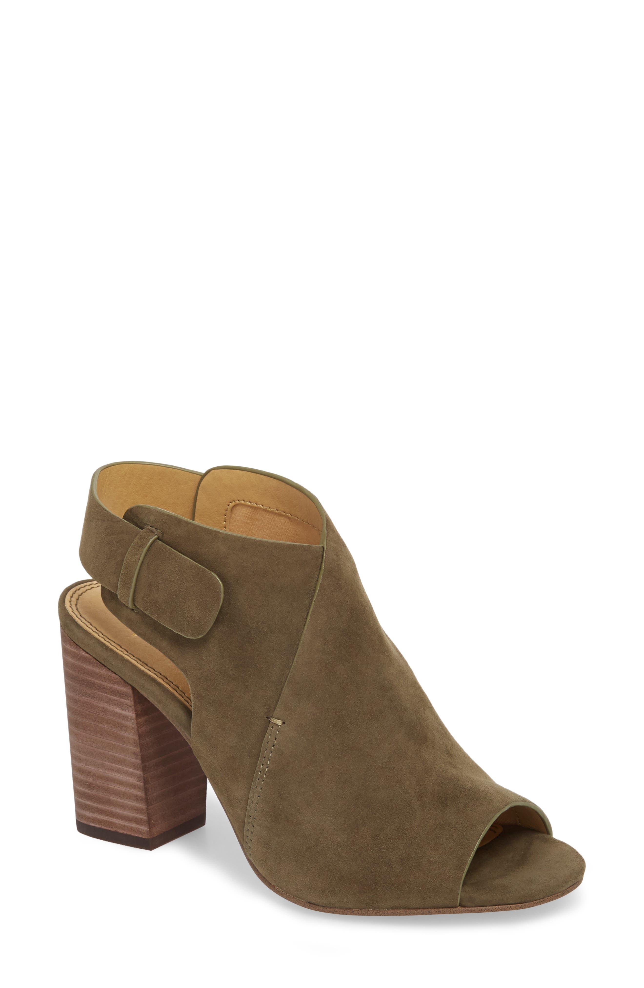 Nikolai Stack Heel Sandal, Main, color, Olive Suede