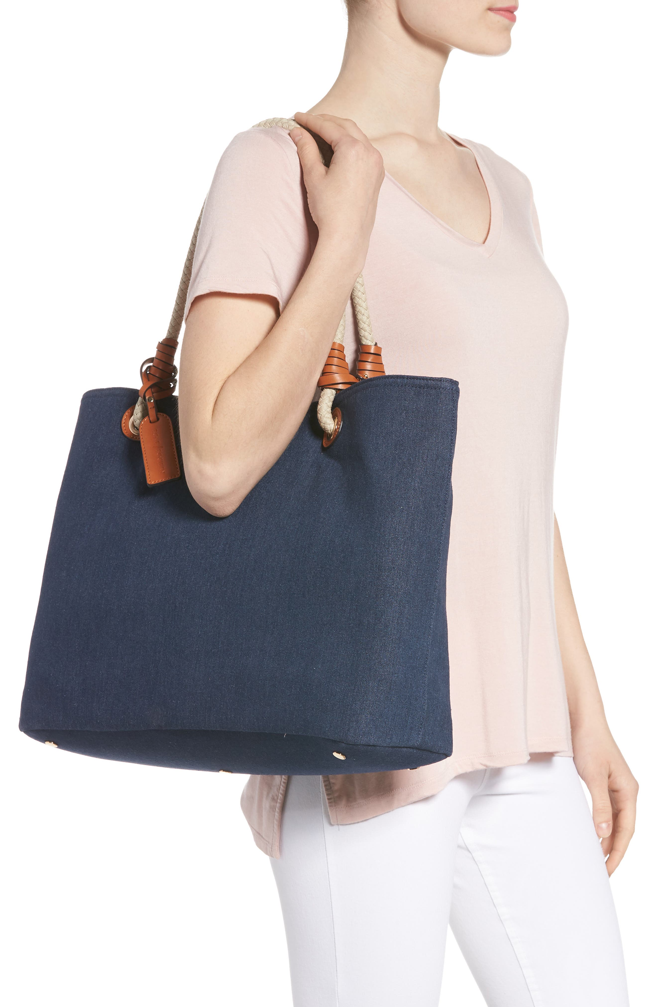 Faux Leather Oversize Tote,                             Alternate thumbnail 2, color,                             Denim