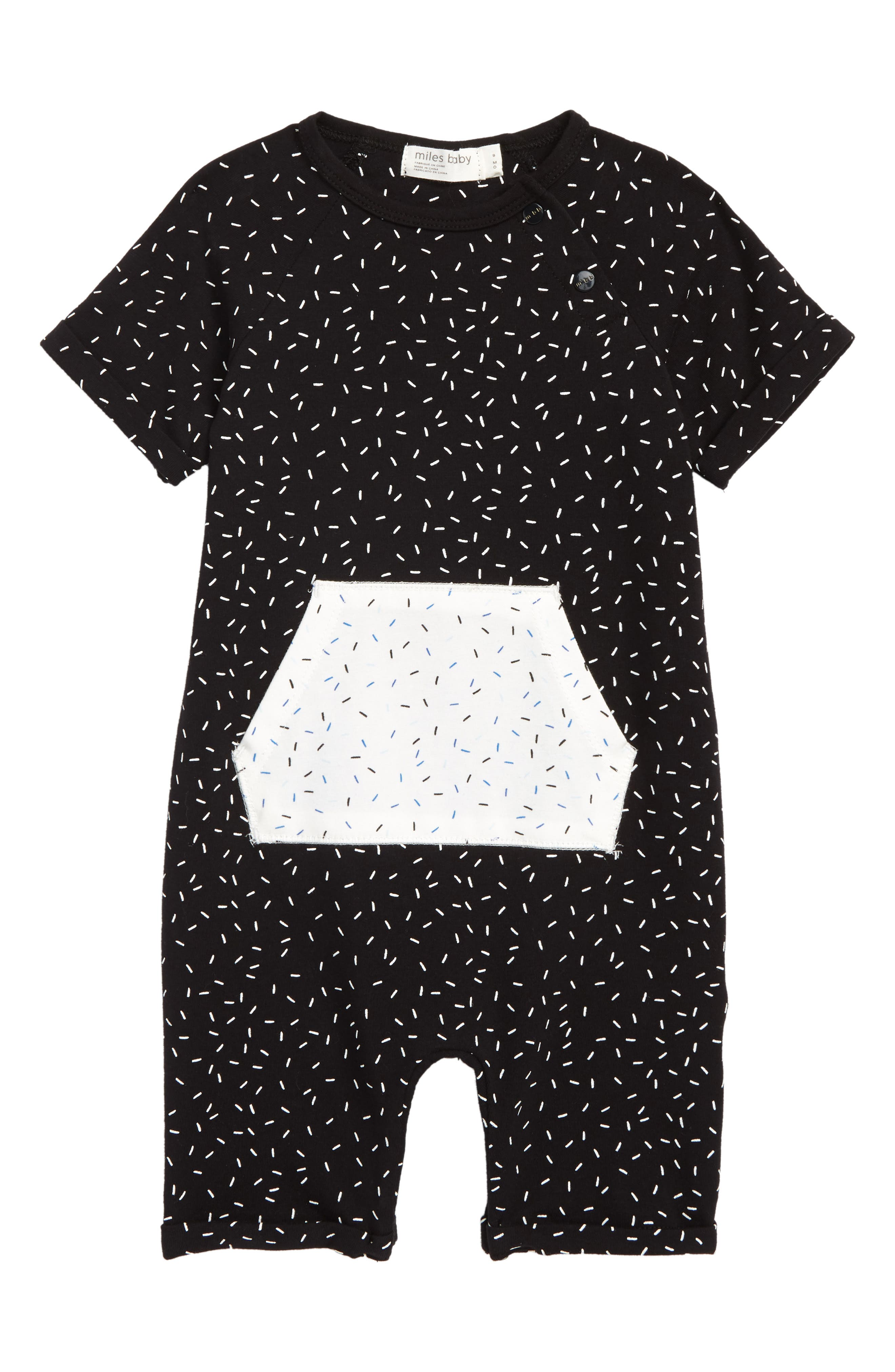 Print Romper,                             Main thumbnail 1, color,                             Black