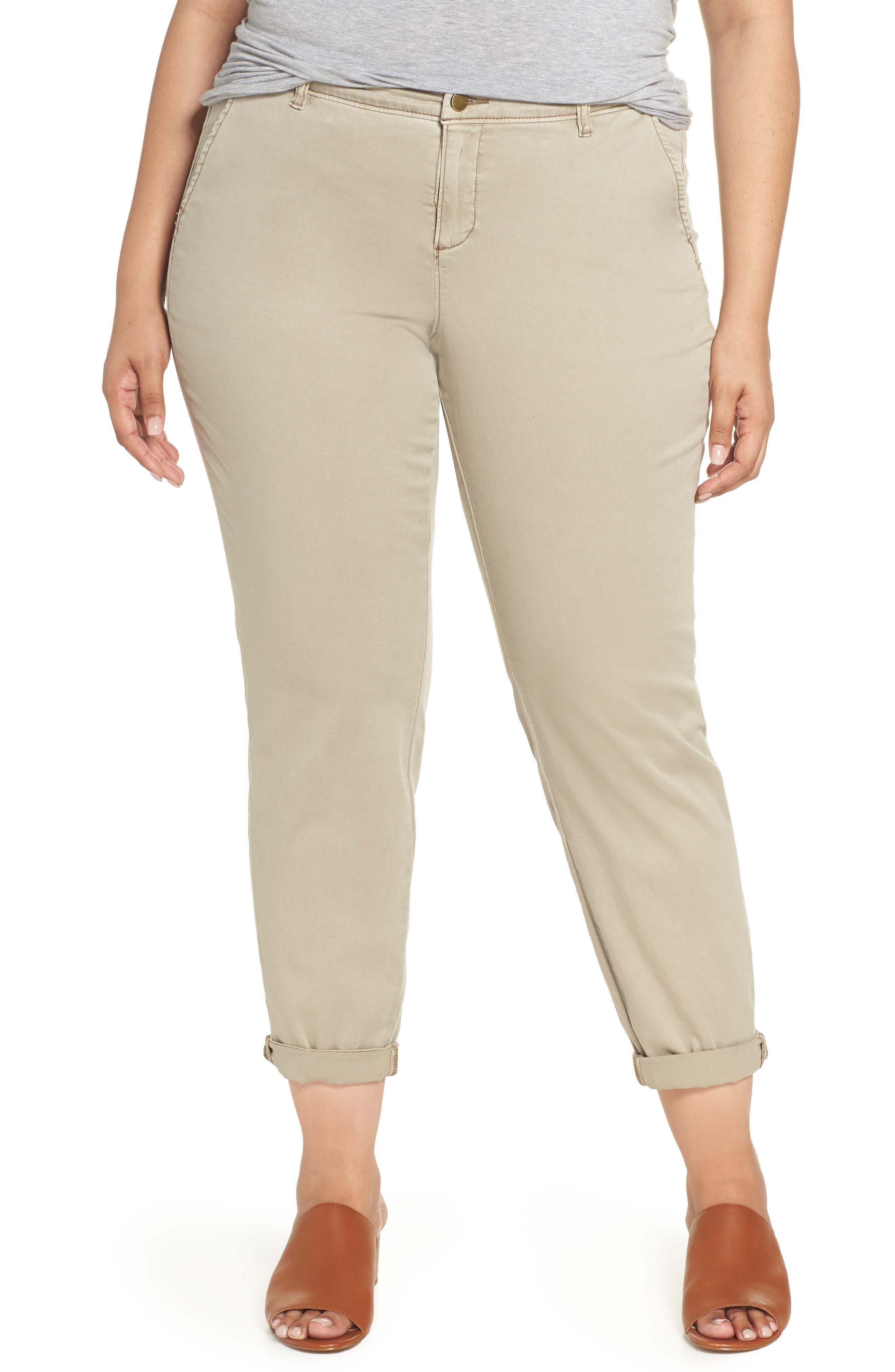 Boyfriend Stretch Cotton Chino Pants,                         Main,                         color, Tan Cobblestone