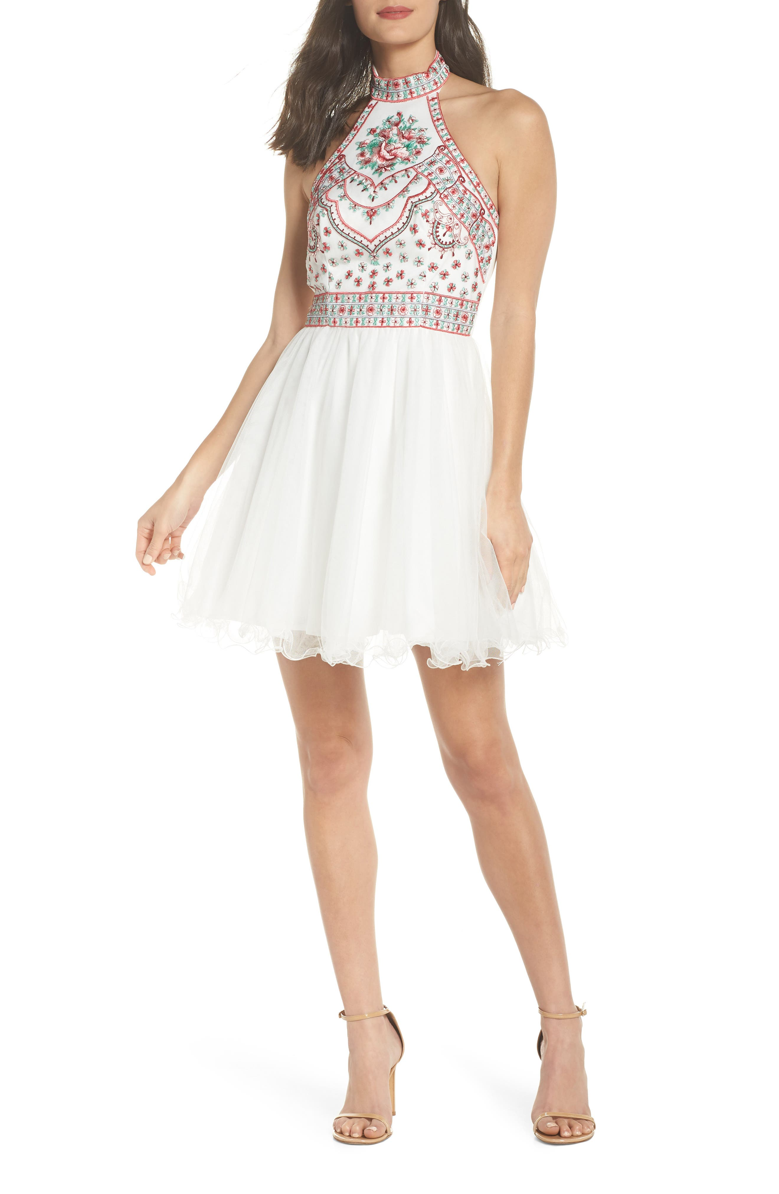 Embroidered Fit & Flare Halter Dress,                             Main thumbnail 1, color,                             Ivory/ Multi