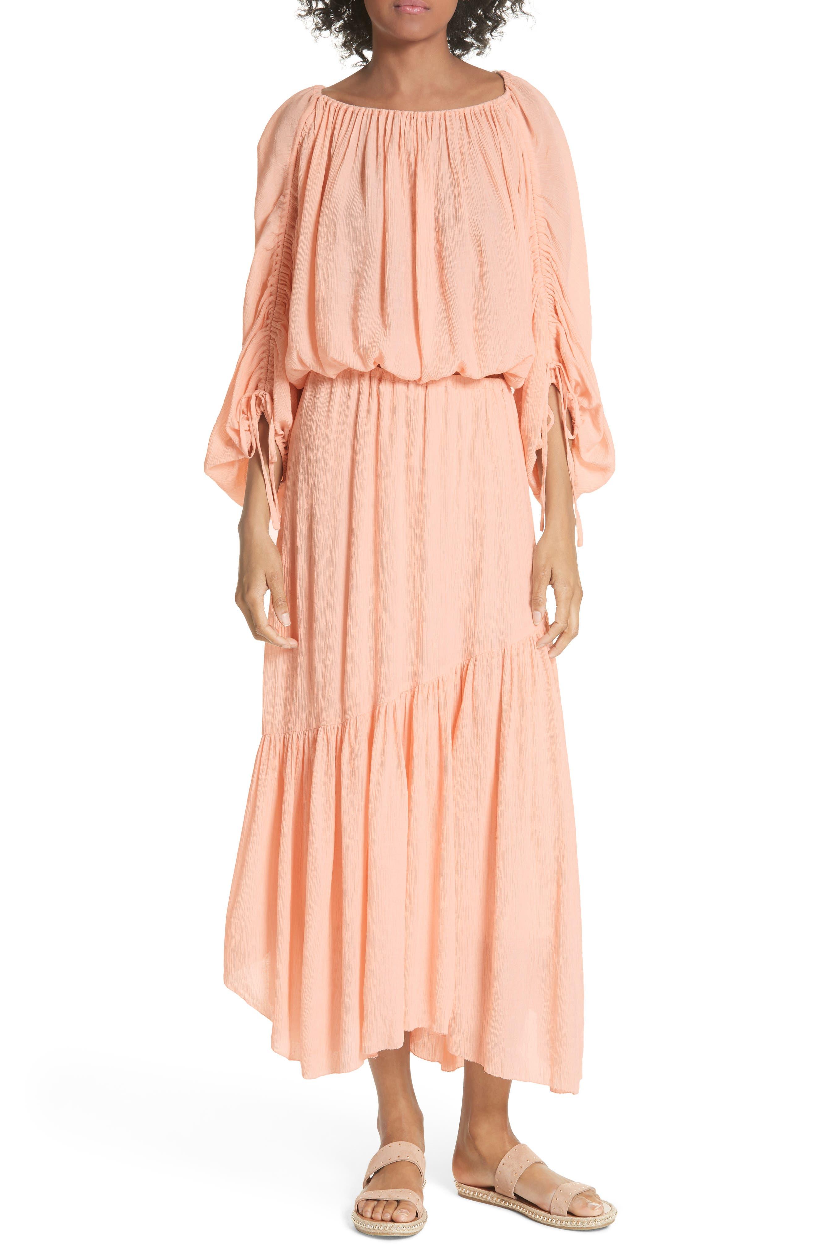 Elazara Ruched Sleeve Peasant Top,                             Alternate thumbnail 7, color,                             Summer Pink