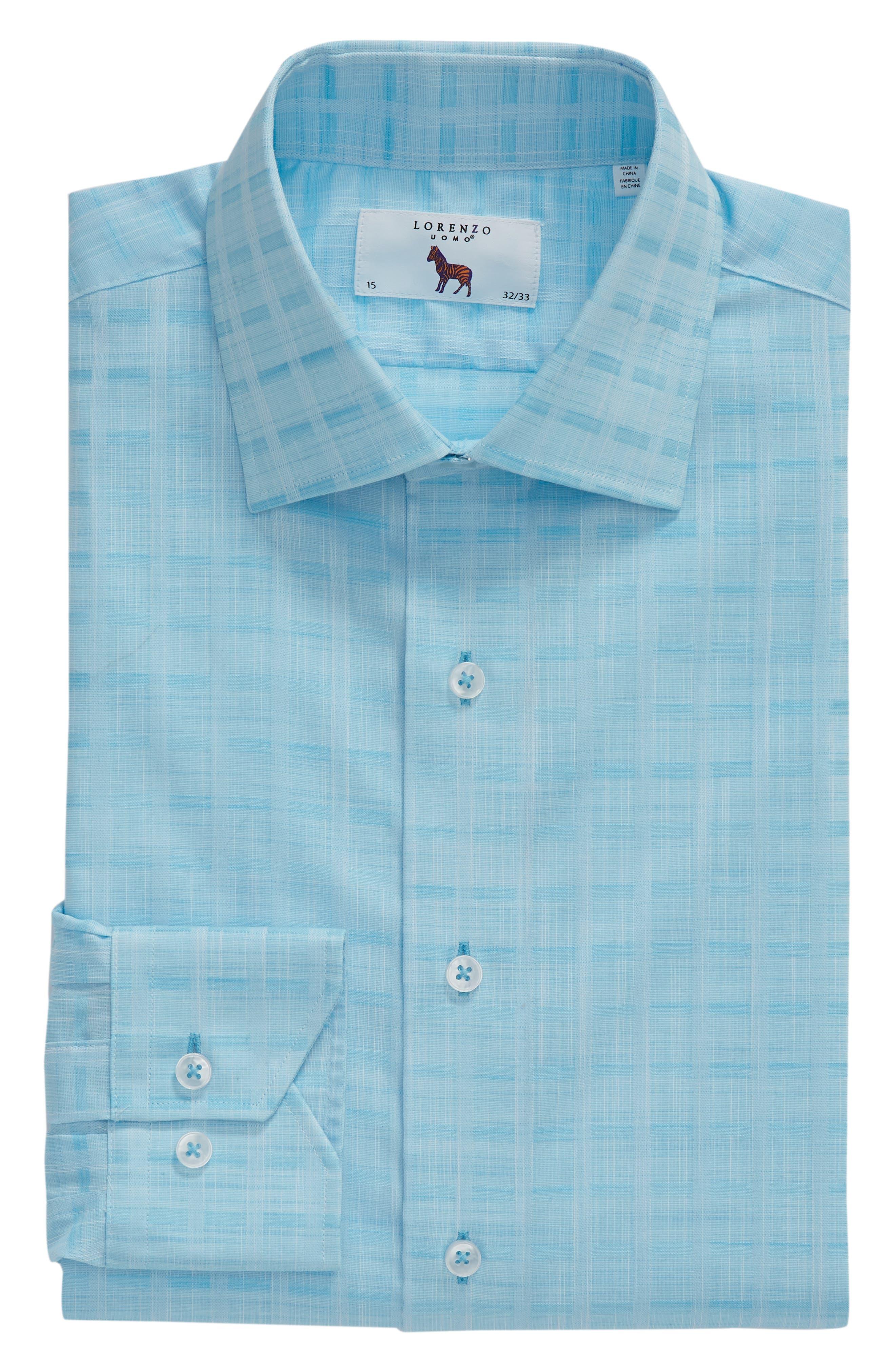 Trim Fit Check Dress Shirt,                             Alternate thumbnail 6, color,                             Aqua