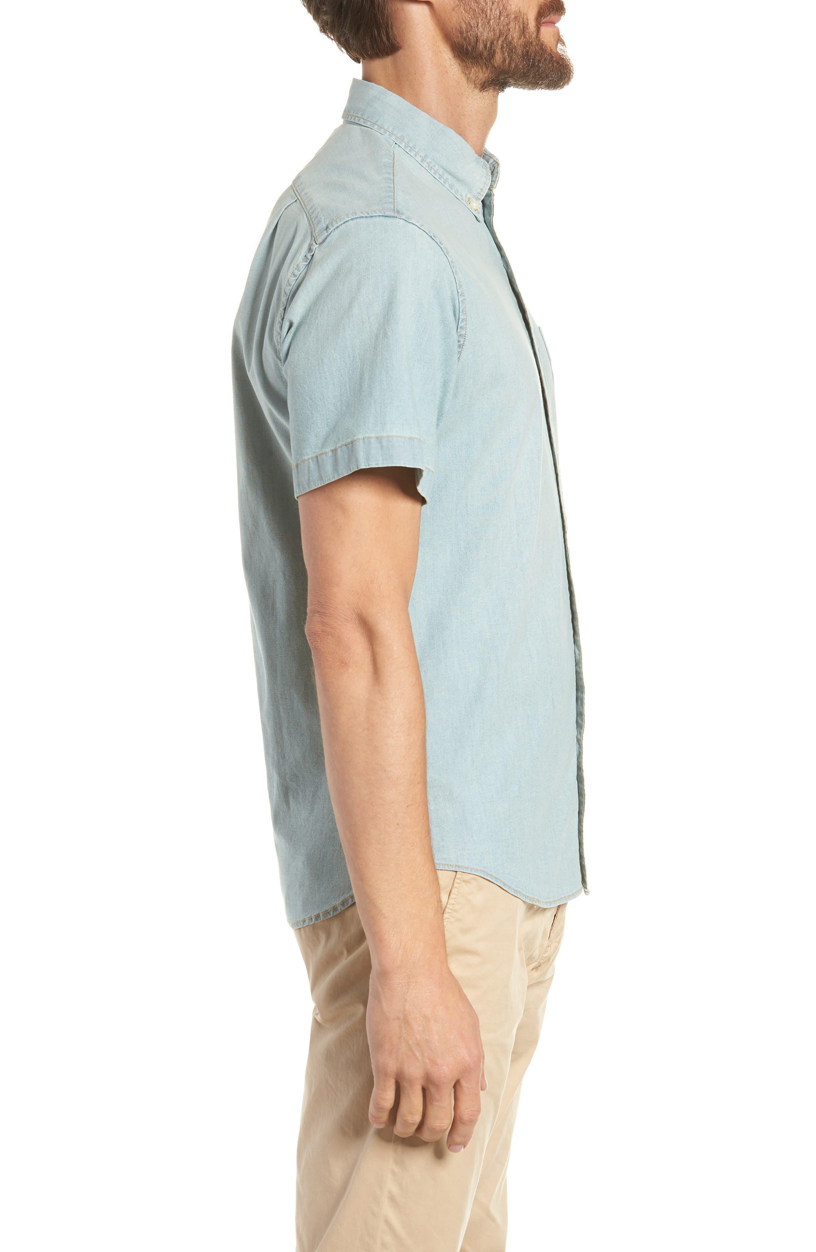 Slim Fit Stretch Chambray Shirt,                             Alternate thumbnail 4, color,                             Indigo