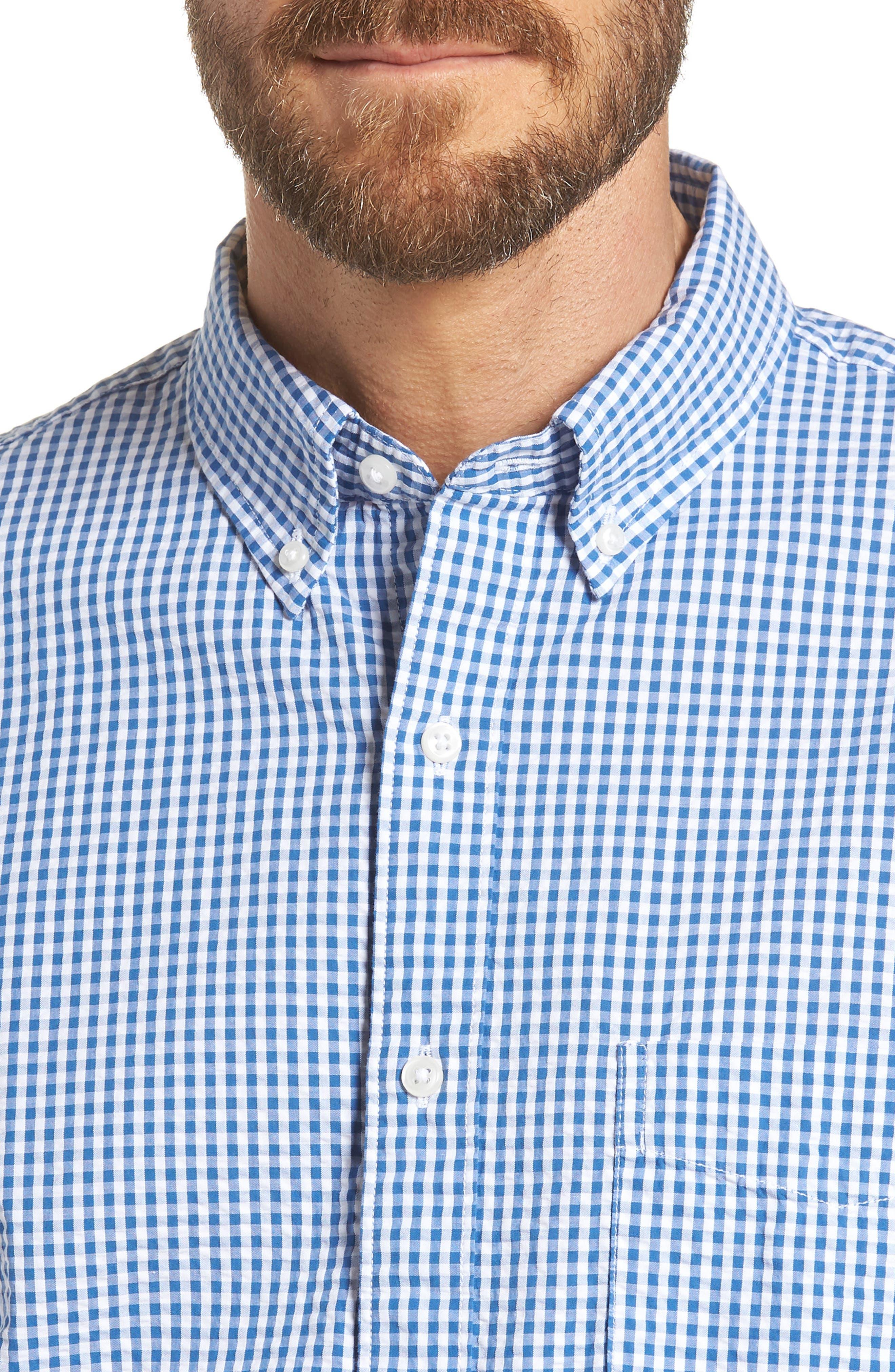Slim Fit Gingham Seersucker Sport Shirt,                             Alternate thumbnail 2, color,                             Calm Lagoon