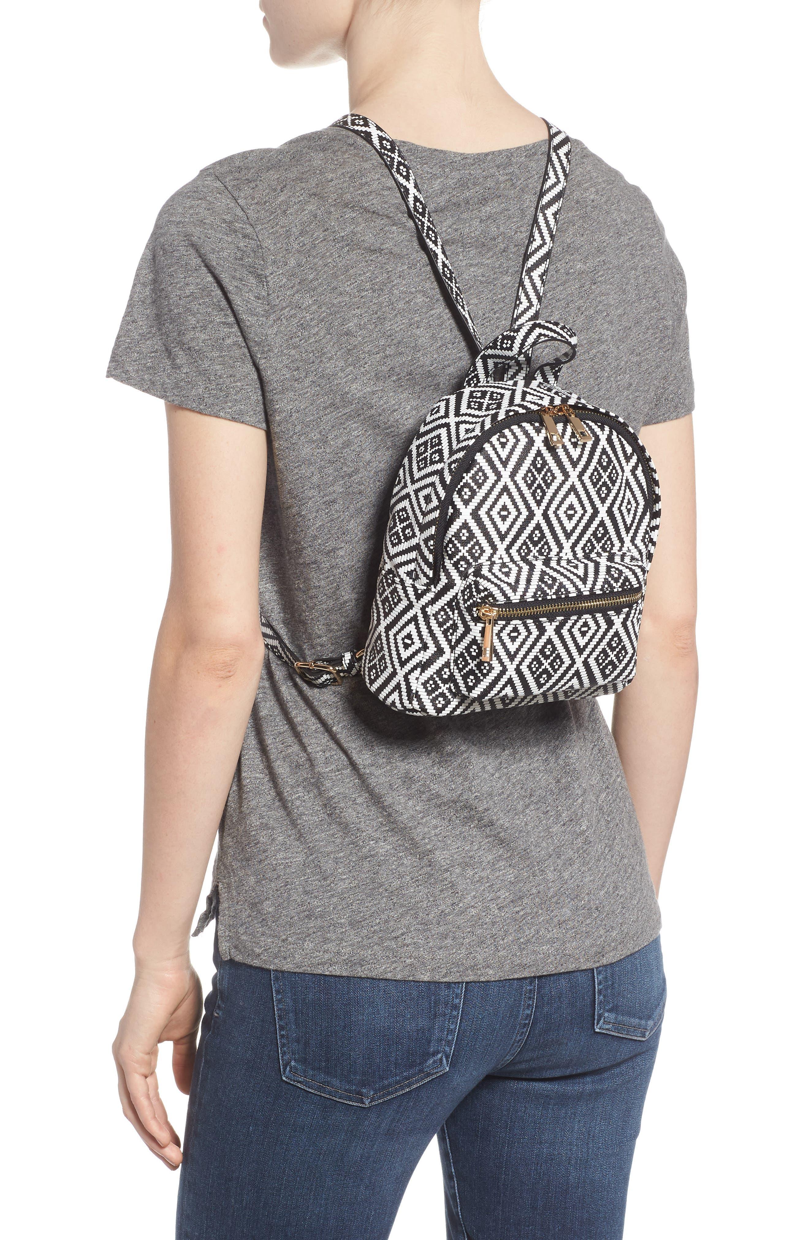 Weave Pattern Faux Leather Mini Backpack,                             Alternate thumbnail 2, color,                             Black/ White