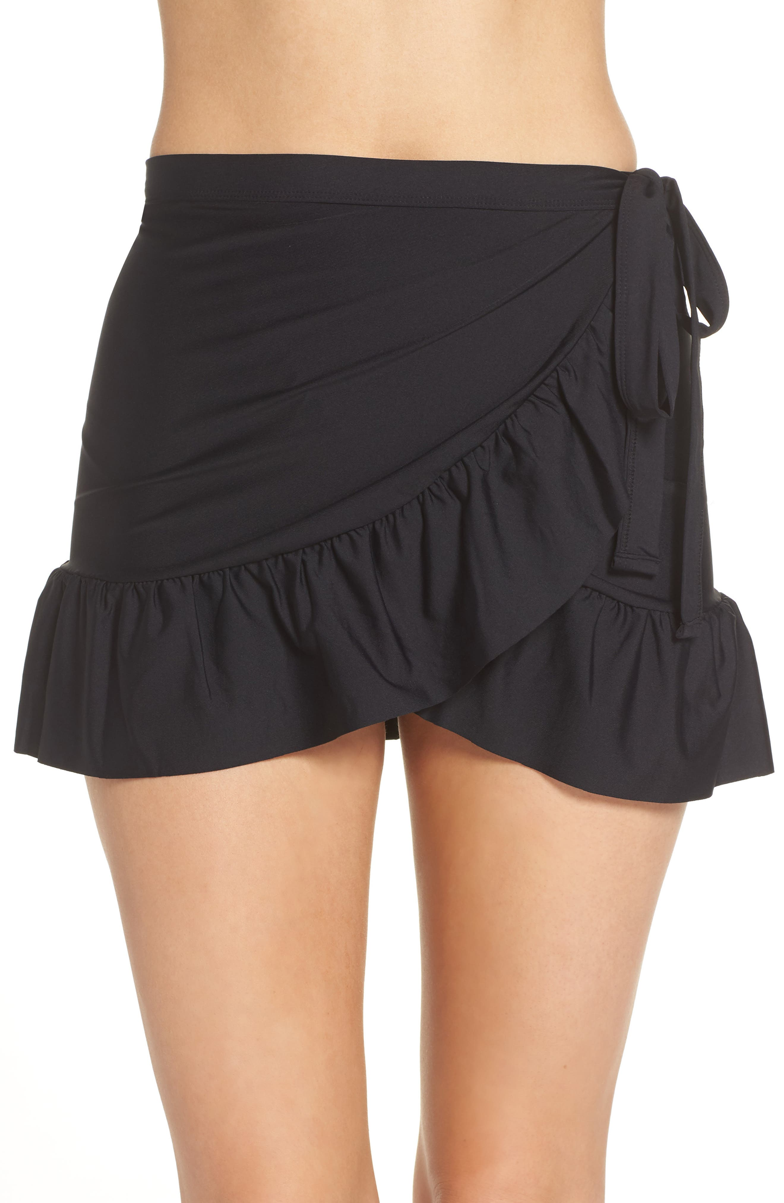 Cover-Up Wrap Skirt,                             Main thumbnail 1, color,                             Black