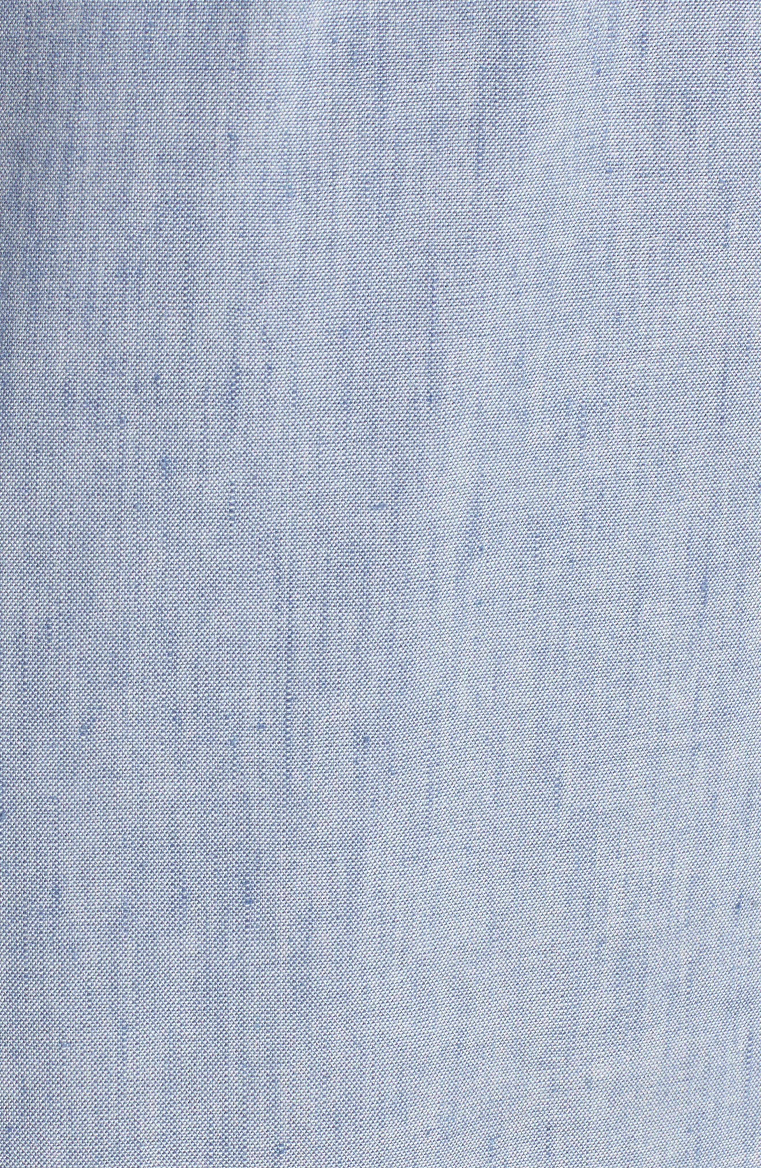 Tie Front Chambray Linen Blend Dress,                             Alternate thumbnail 6, color,                             Chambray