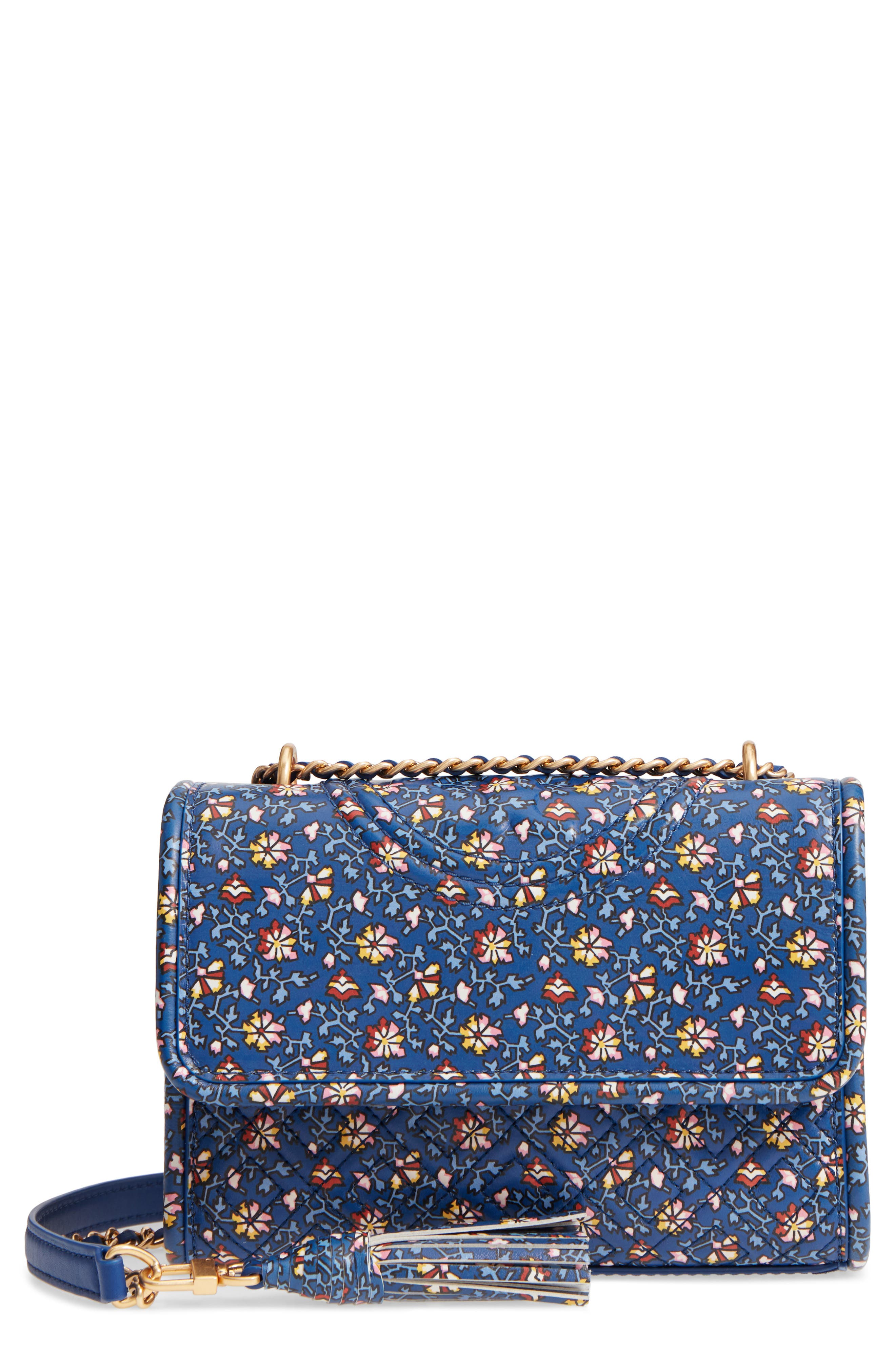 Fleming Print Leather Convertible Shoulder Bag,                         Main,                         color, Blue Wild Pansy